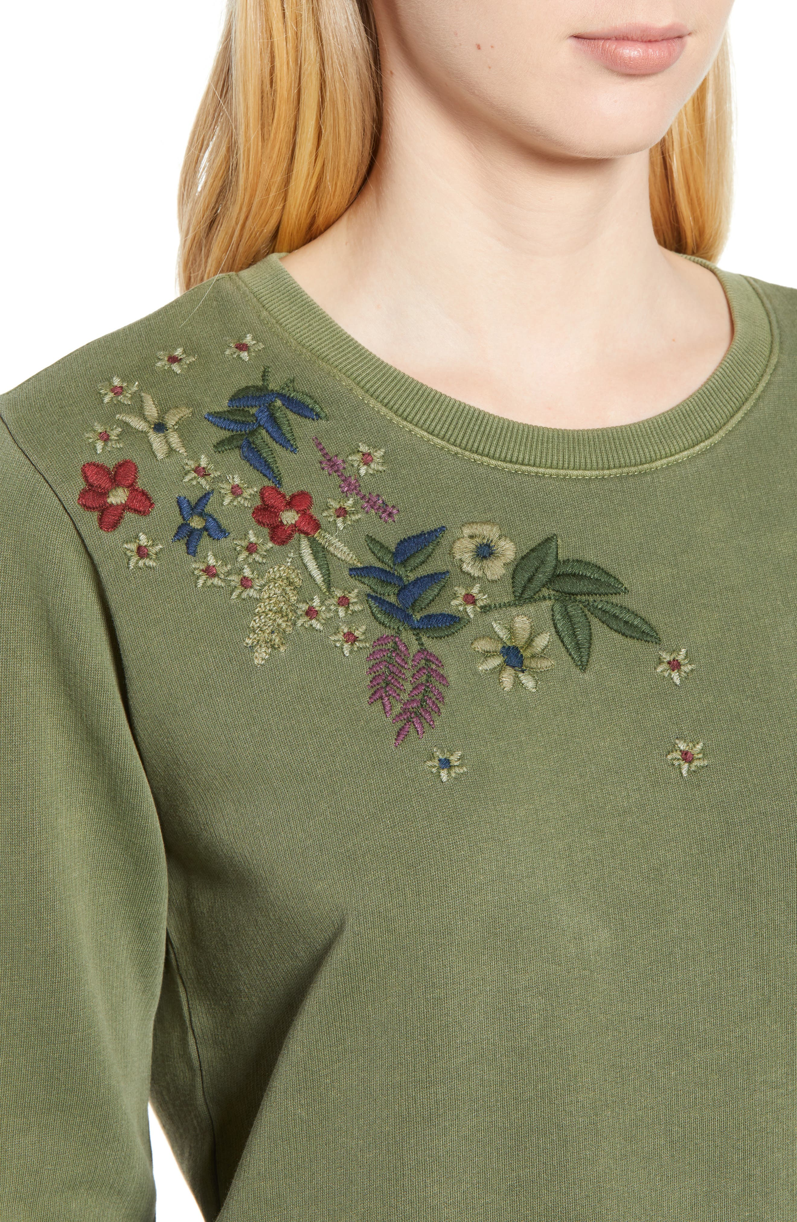 Embroidered Flowers Sweatshirt,                             Alternate thumbnail 4, color,                             OLIVE KNIT