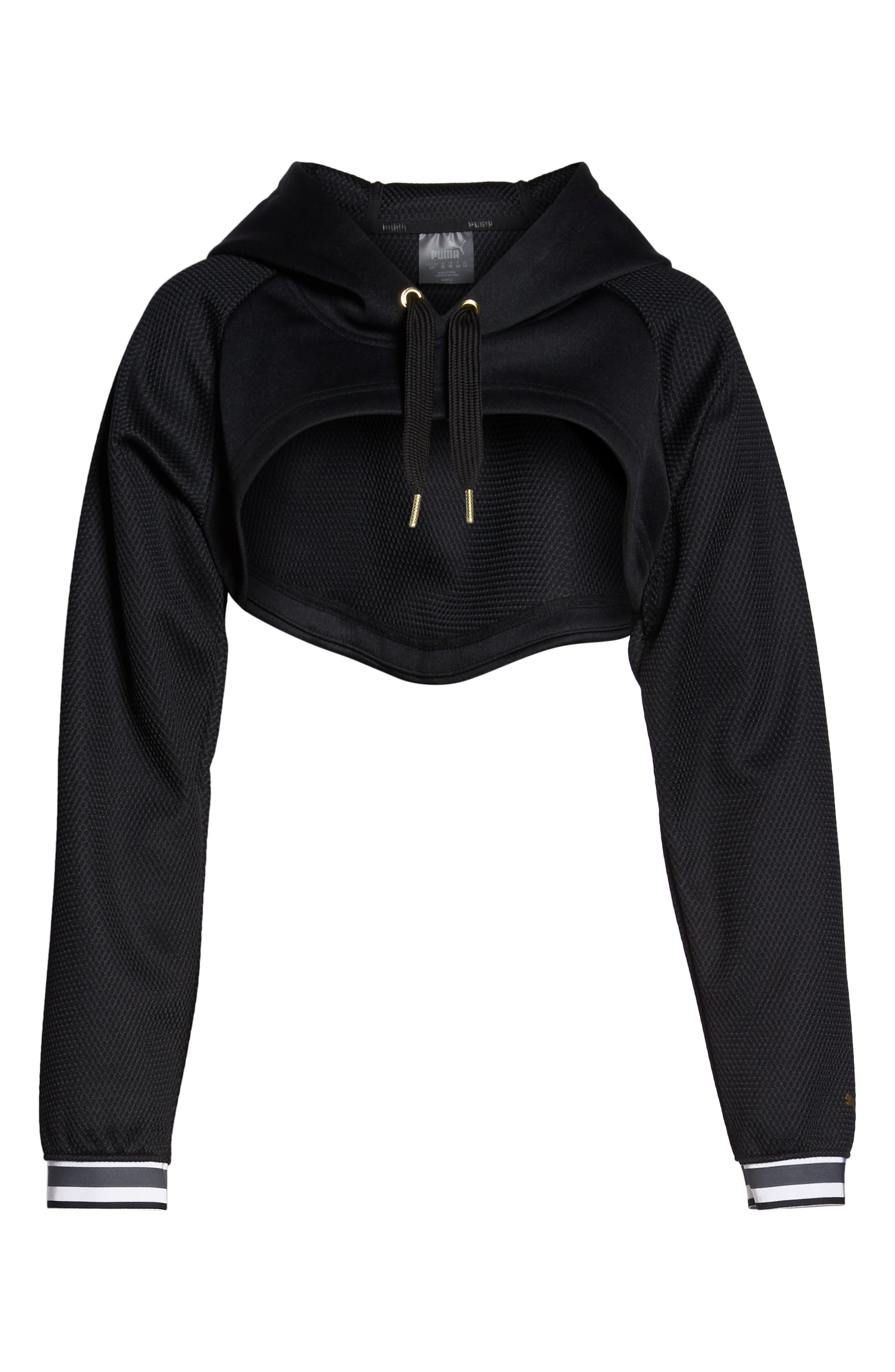 Varsity Cropped Cover-Up Hoodie,                             Alternate thumbnail 7, color,                             001