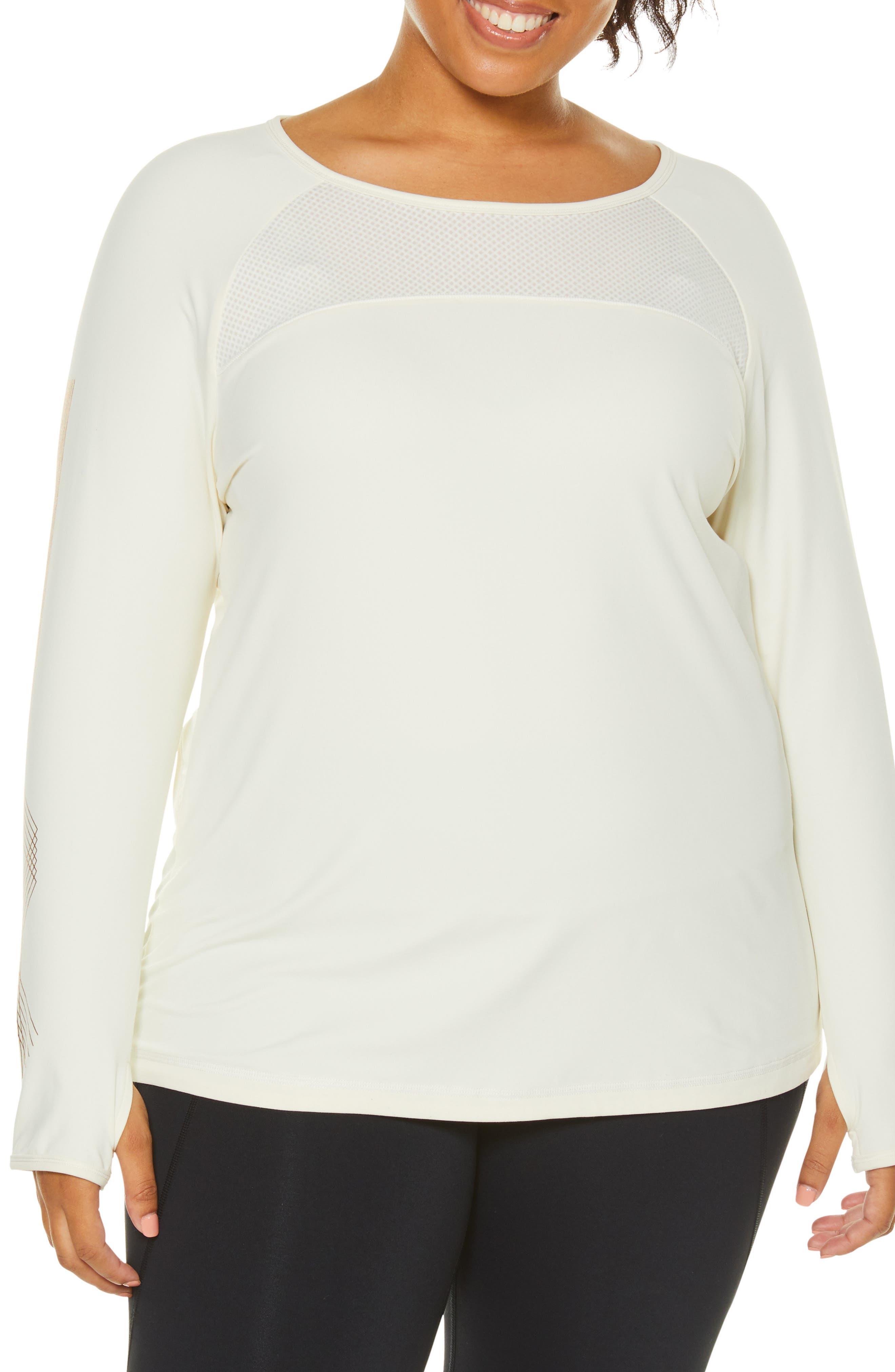 Plus Size Shape Activewear Integral Long Sleeve Tee, White