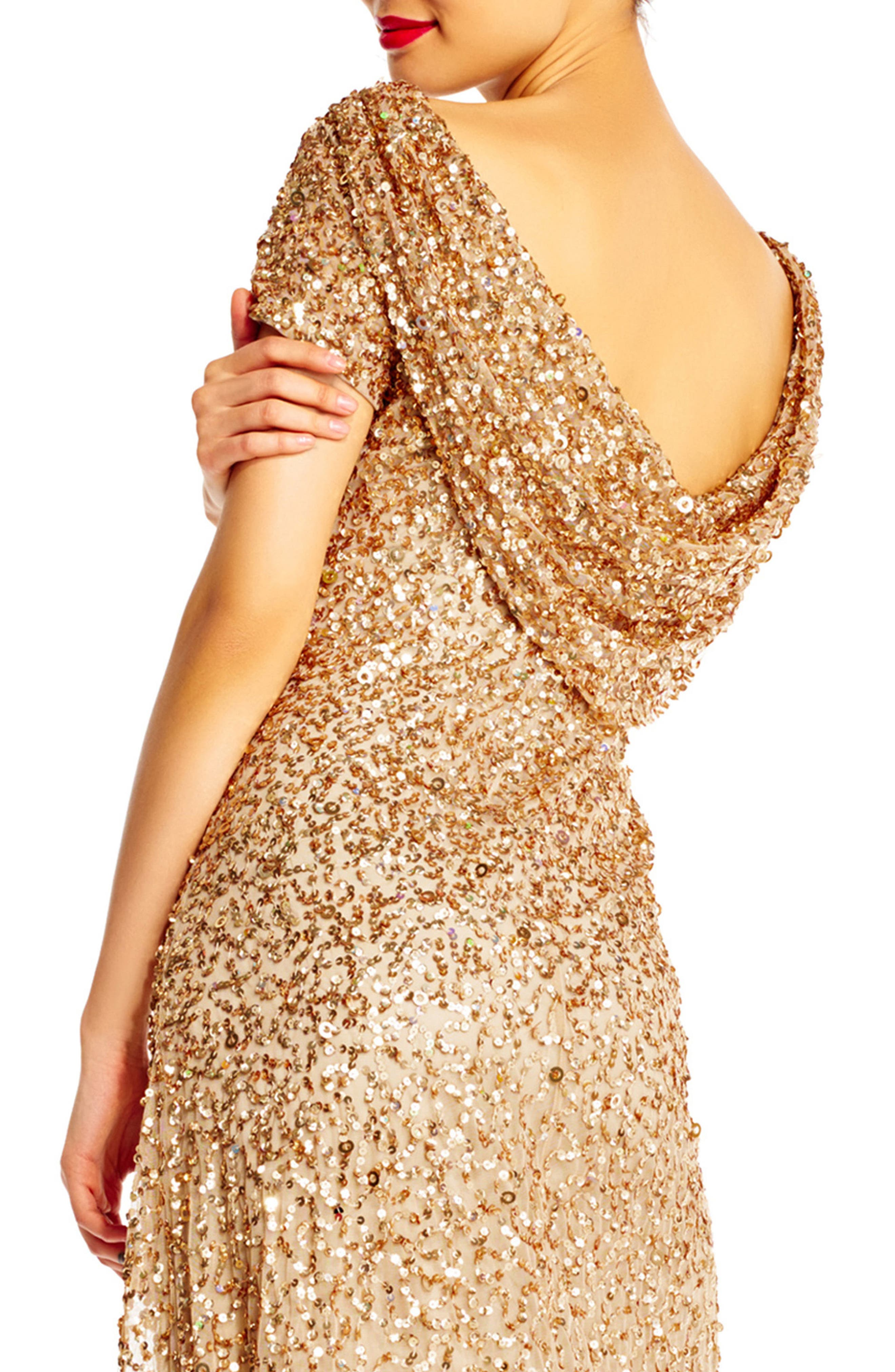 Sequin Cowl Back Gown,                             Alternate thumbnail 15, color,