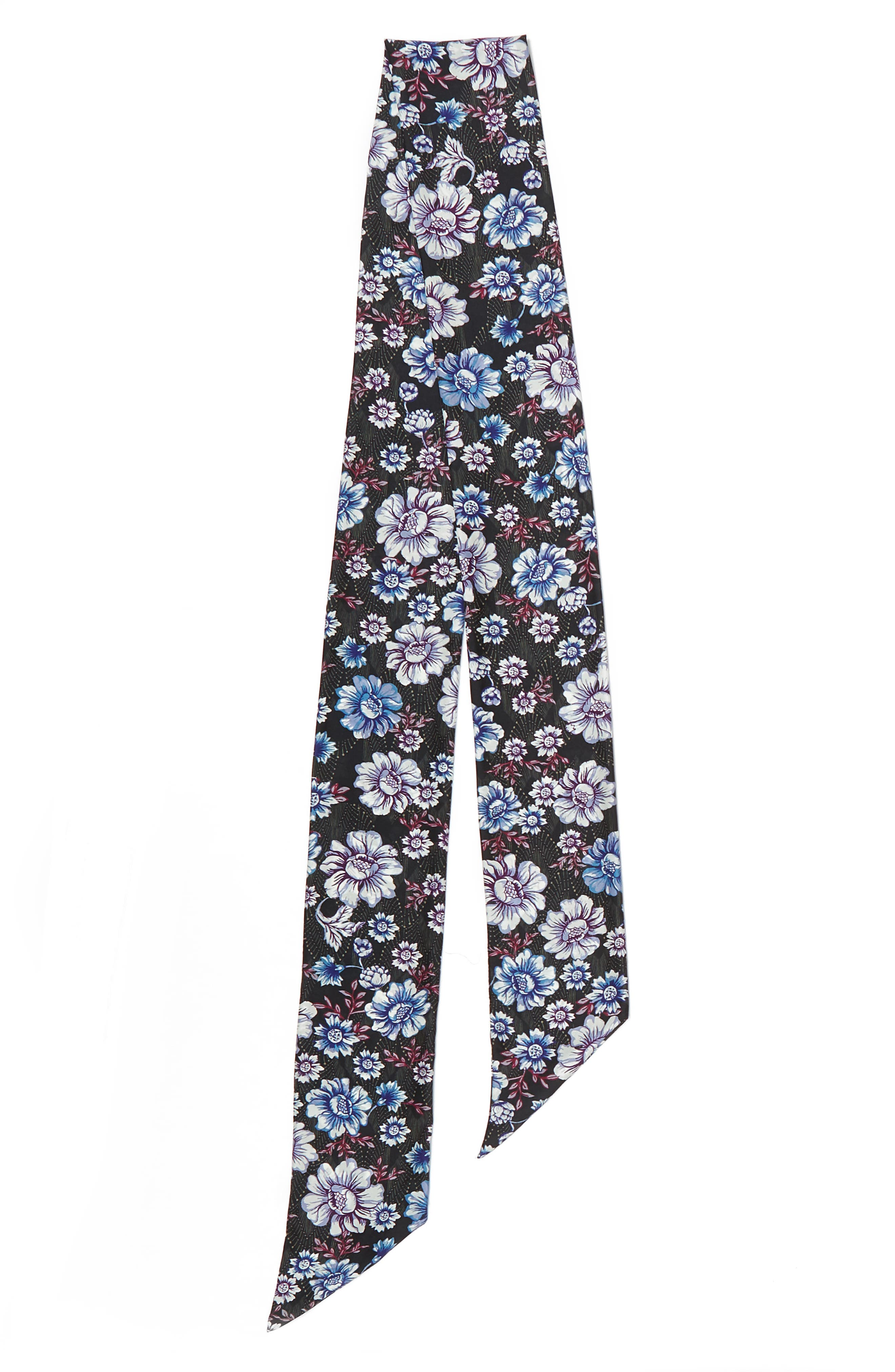 Mirrored Floral Silk Skinny Scarf,                             Alternate thumbnail 5, color,