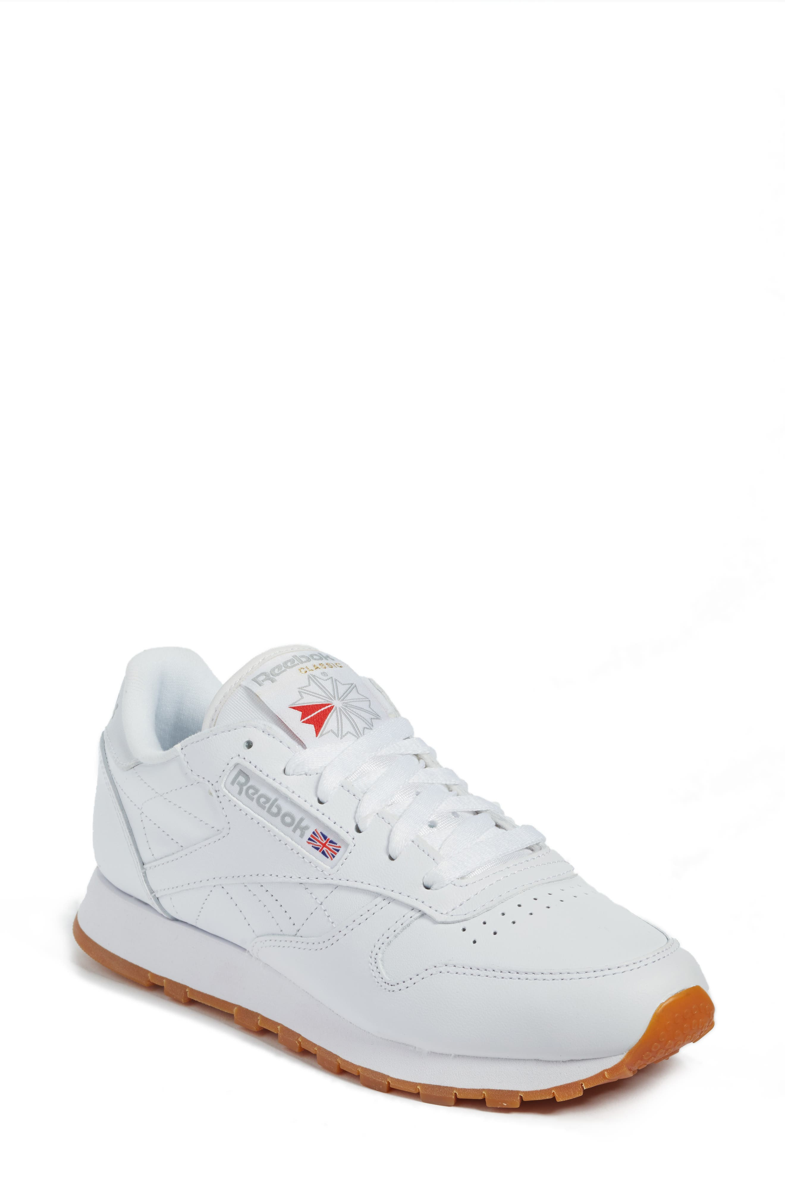 REEBOK,                             Classic Leather Sneaker,                             Main thumbnail 1, color,                             US-WHITE/ GUM
