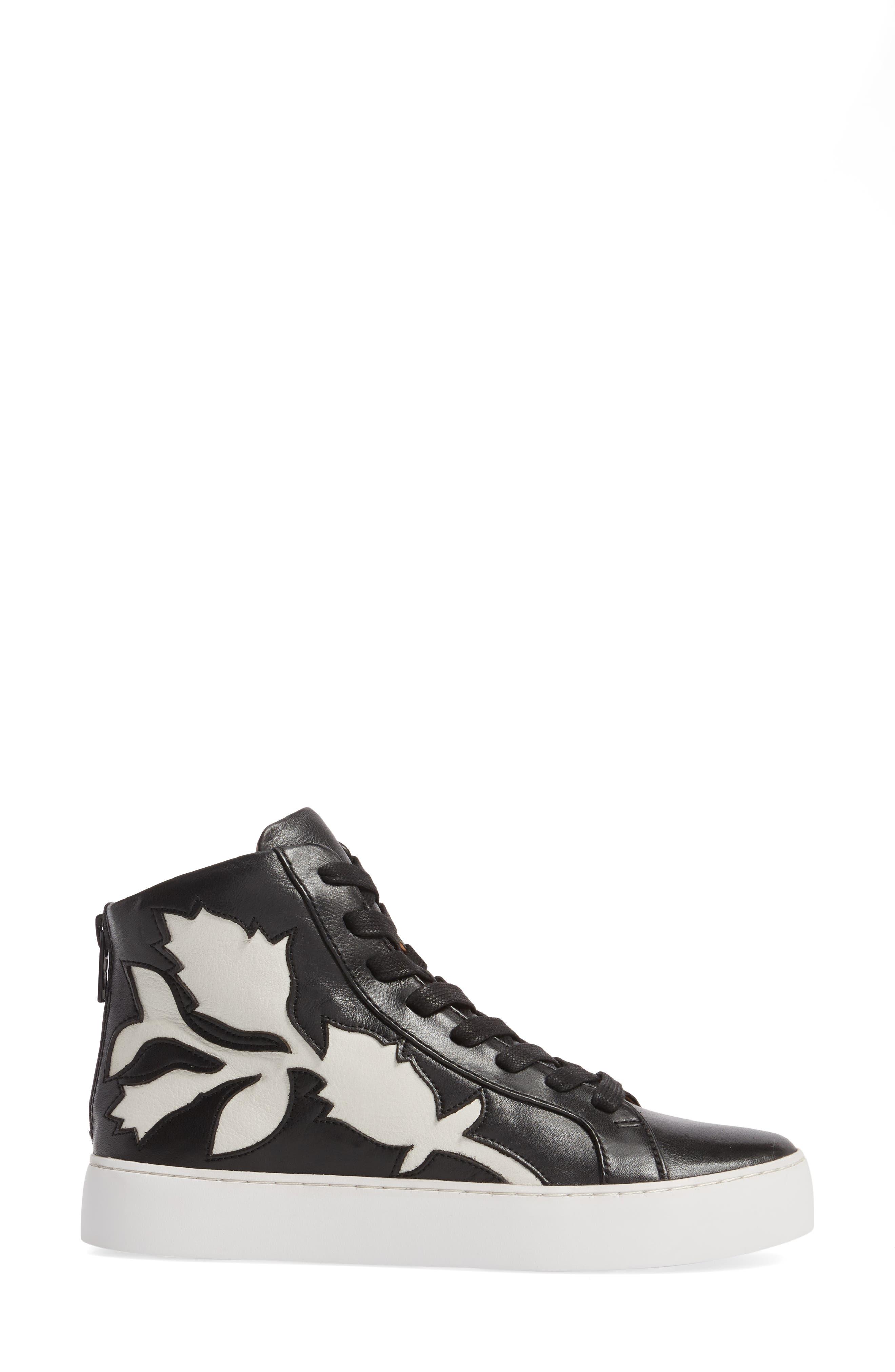 Lena Floral High Top Sneaker,                             Alternate thumbnail 3, color,                             001