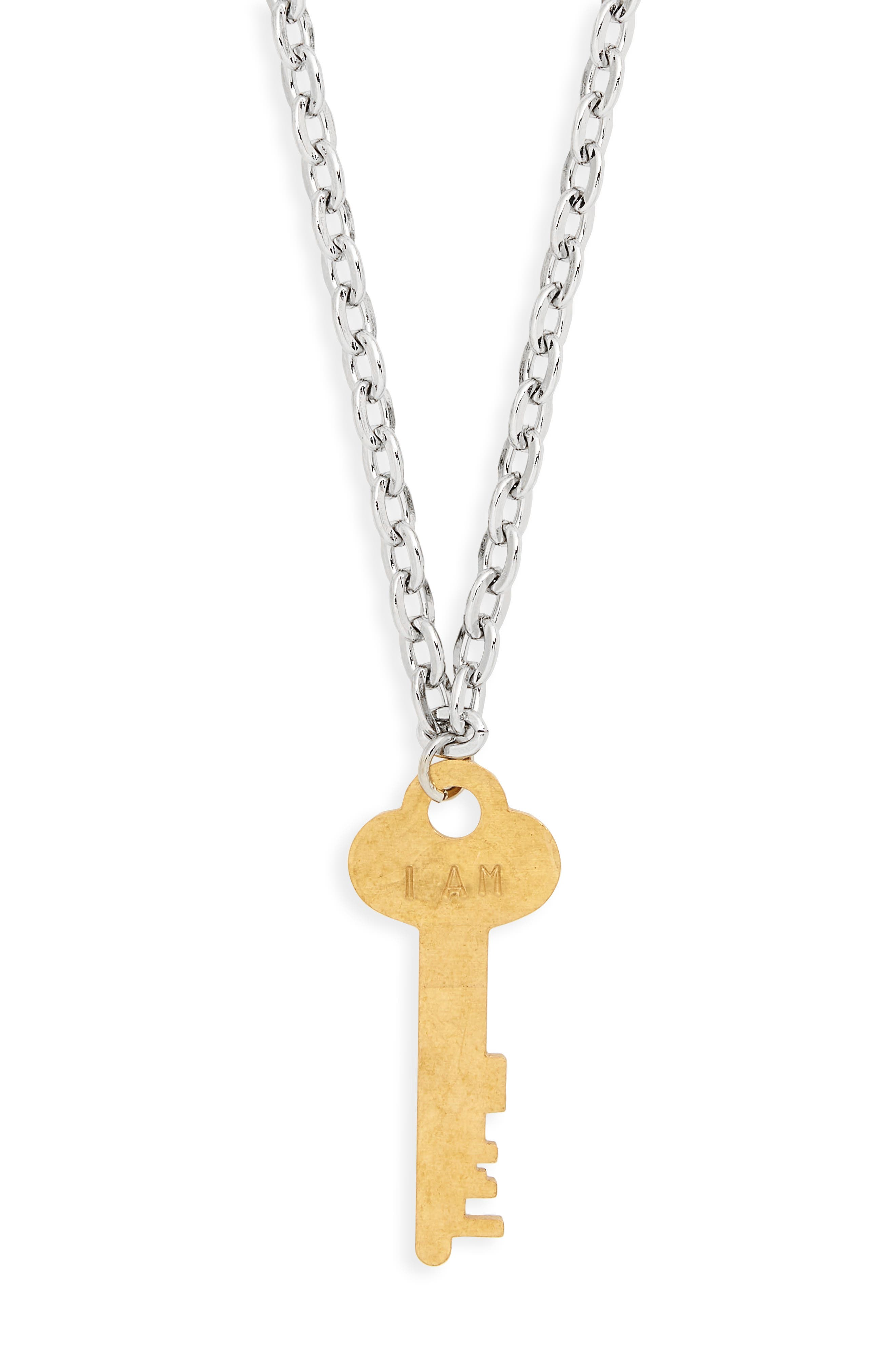 I Am Worthy Key Charm Necklace,                             Alternate thumbnail 3, color,