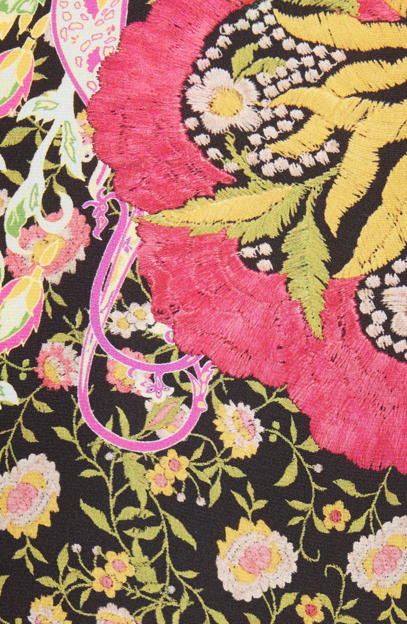 Floral Paisley Print Silk Shirt,                             Alternate thumbnail 5, color,                             001