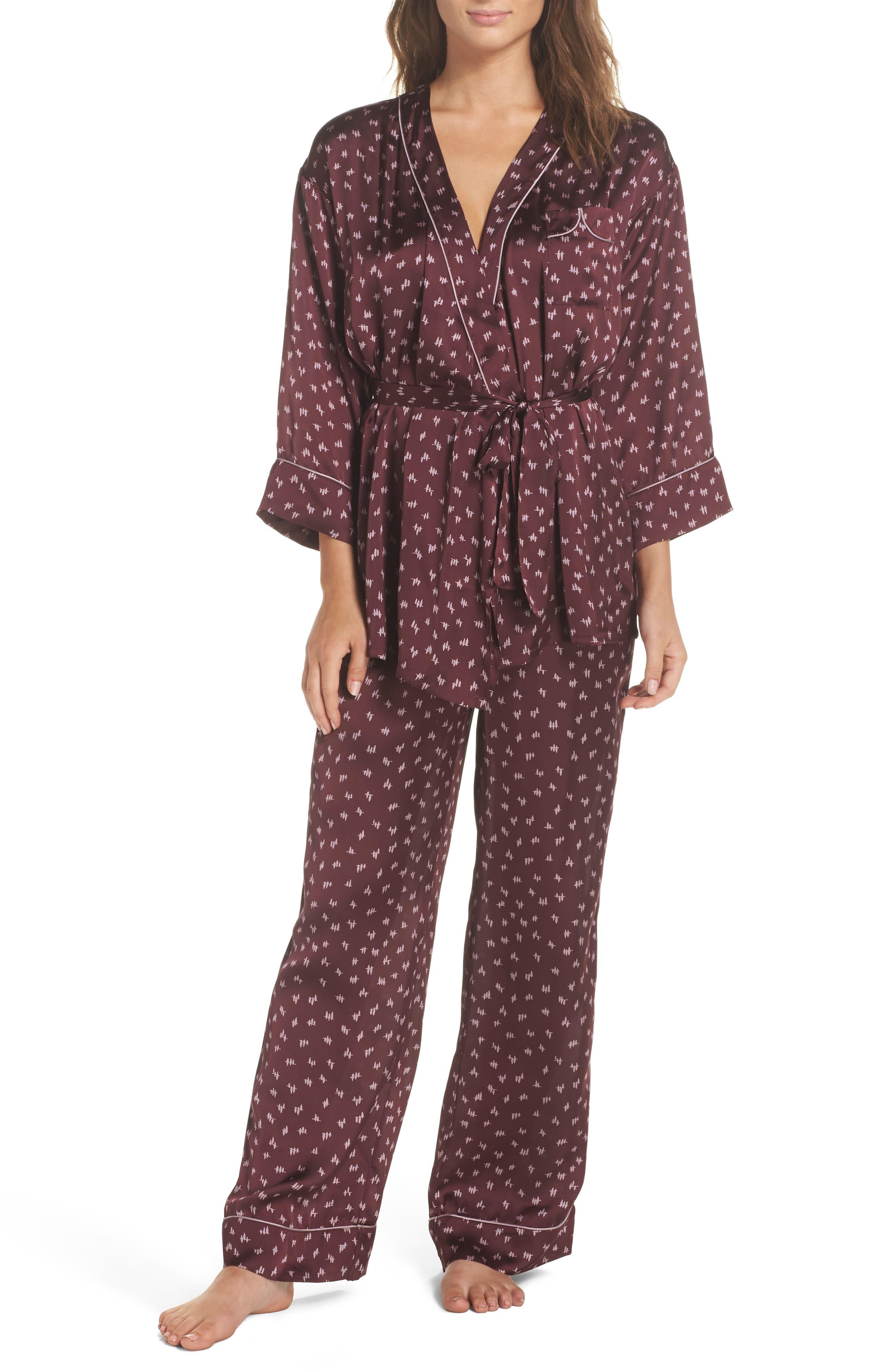 Wrap Satin Pajamas,                             Main thumbnail 1, color,                             930