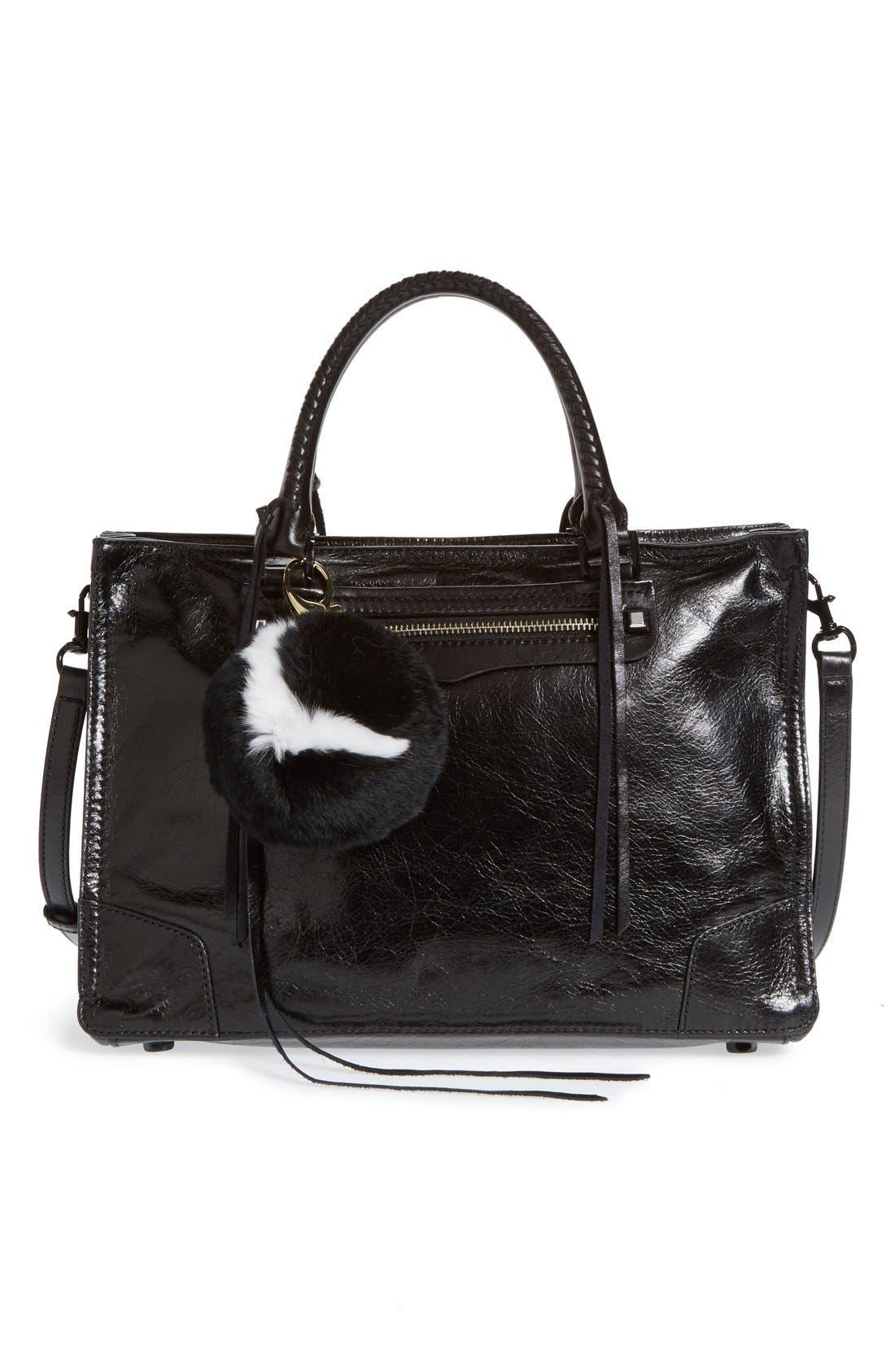 REBECCA MINKOFF,                             Genuine Rabbit Fur Initial Pom Bag Charm,                             Alternate thumbnail 3, color,                             001