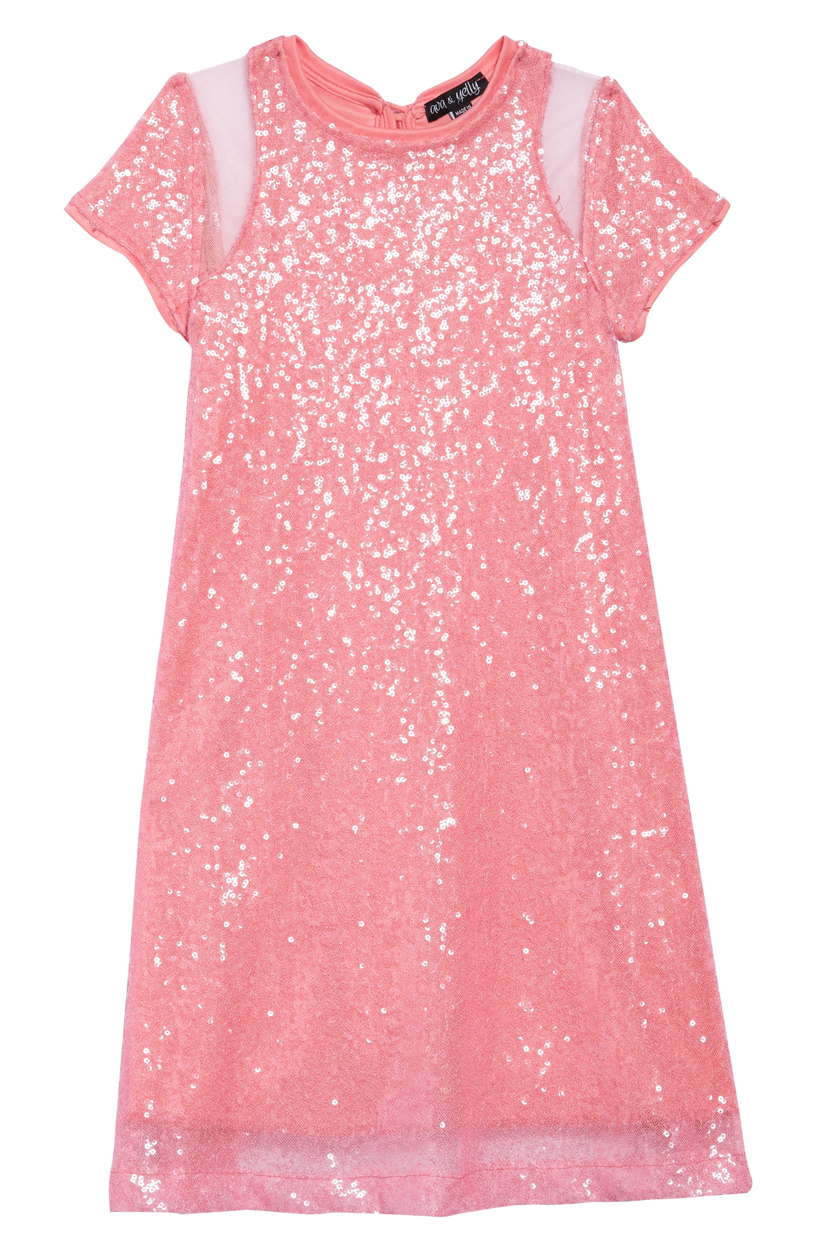 AVA & YELLY Daisy Sequin Shift Dress, Main, color, 650