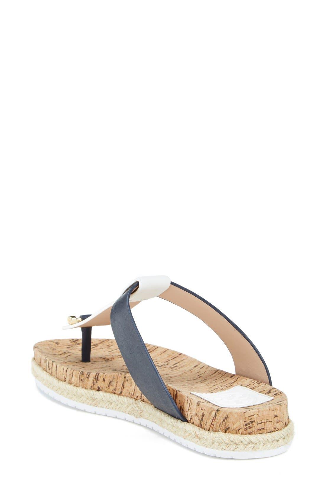 Leather & Cork Thong Sandal,                             Alternate thumbnail 4, color,                             462