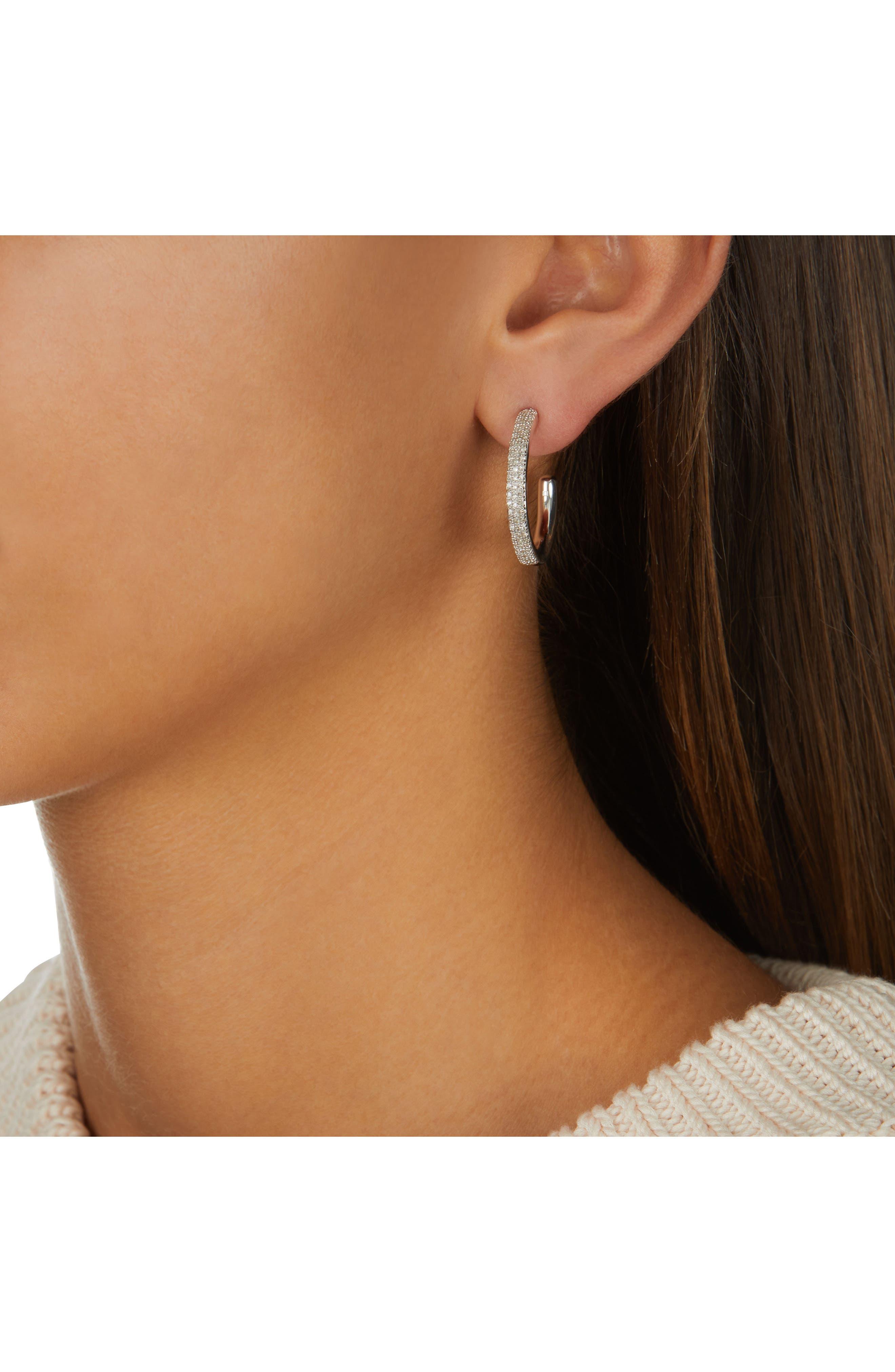 Fiji Large Diamond Hoop Earrings,                             Alternate thumbnail 2, color,                             SILVER