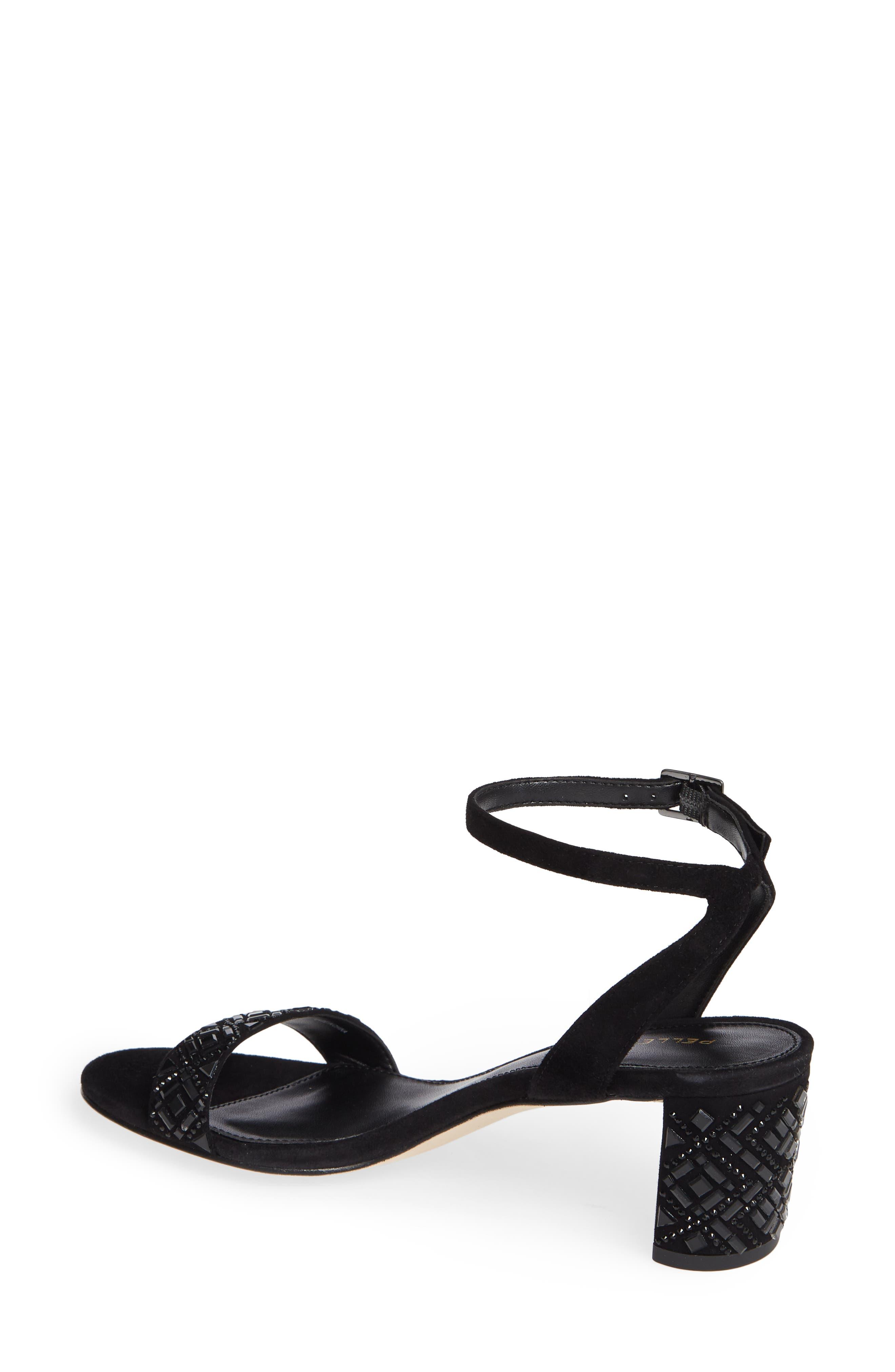 Moira Crystal Embellished Sandal,                             Alternate thumbnail 2, color,                             BLACK SUEDE