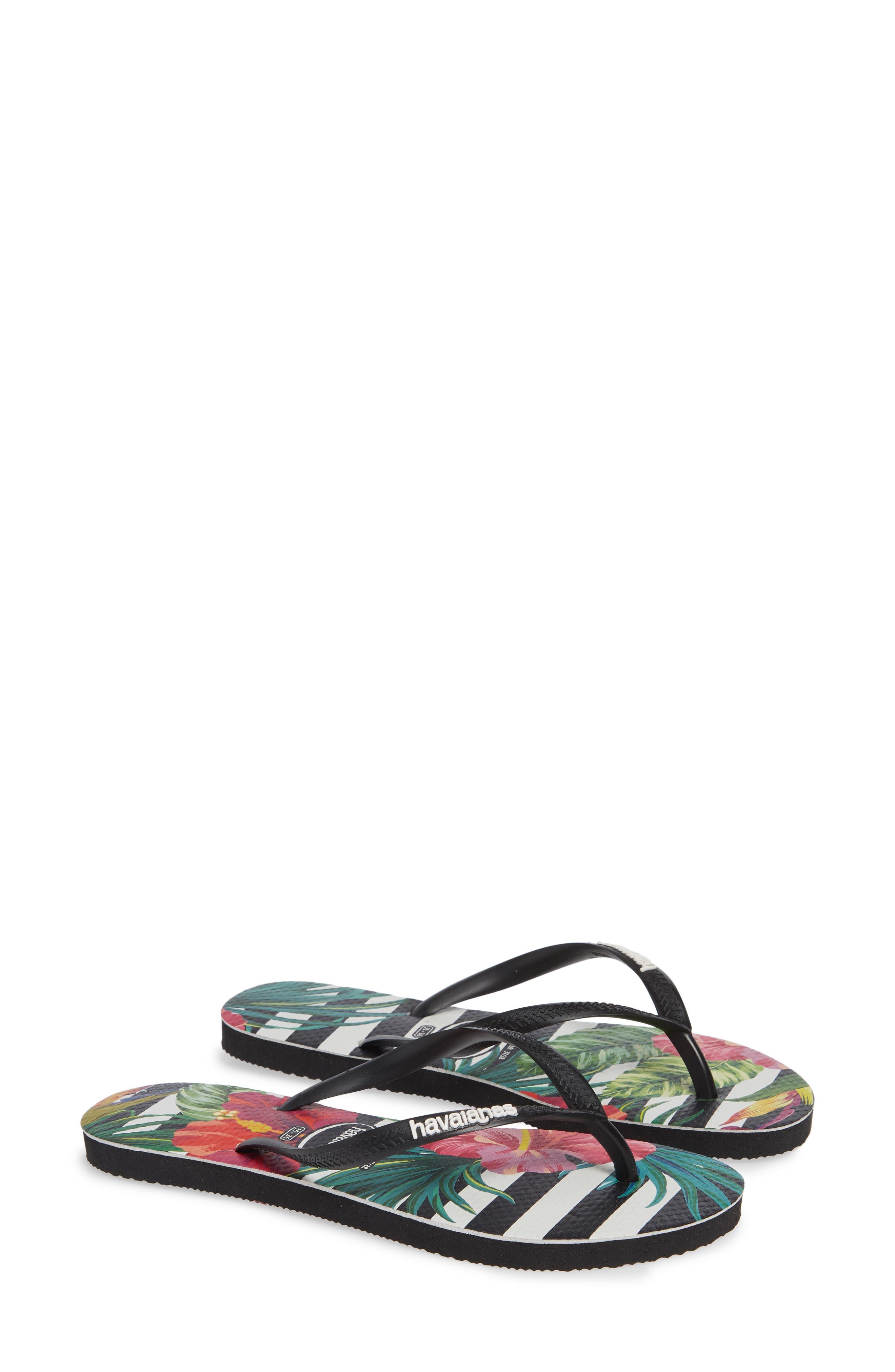 Slim Tropical Floral Flip Flop,                             Alternate thumbnail 2, color,                             BLACK/ WHITE