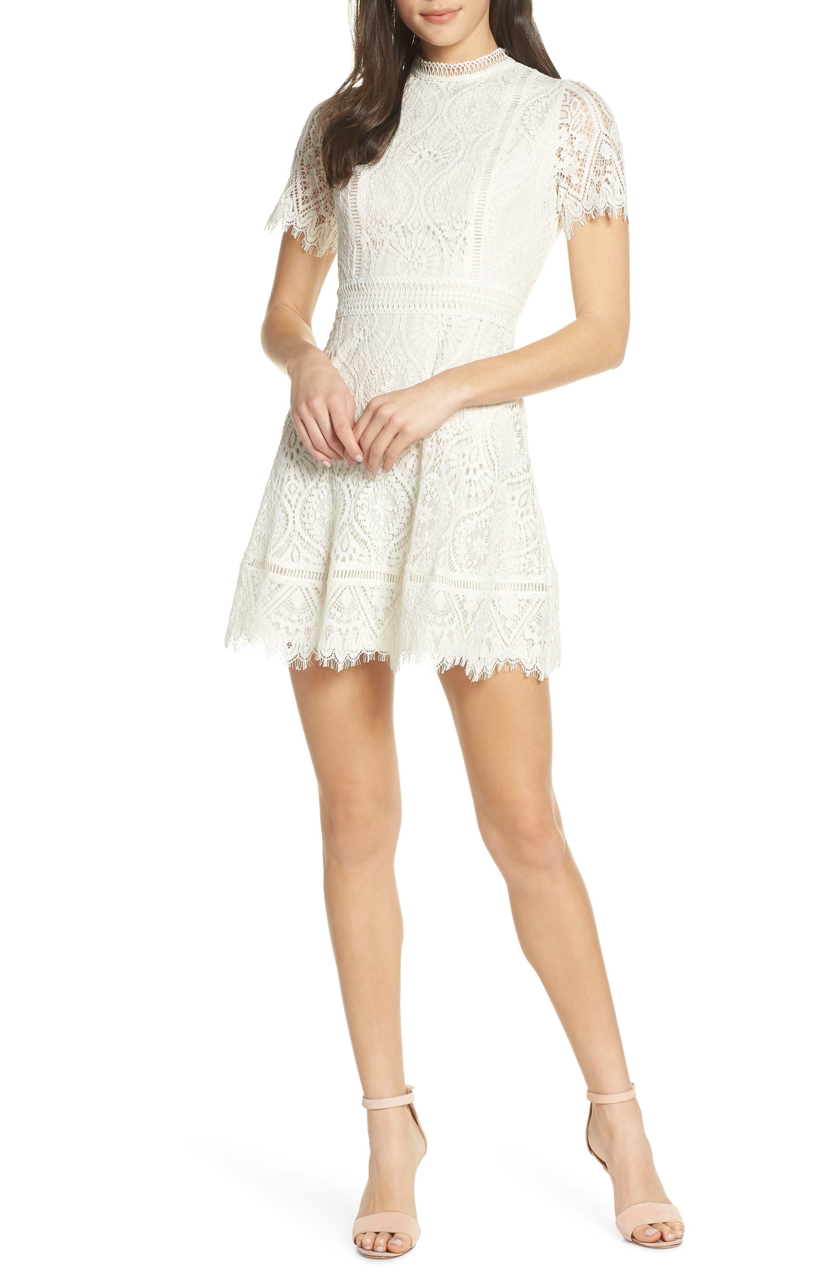 Bb Dakota On List Short Sleeve Lace Fit & Flare Dress, Ivory