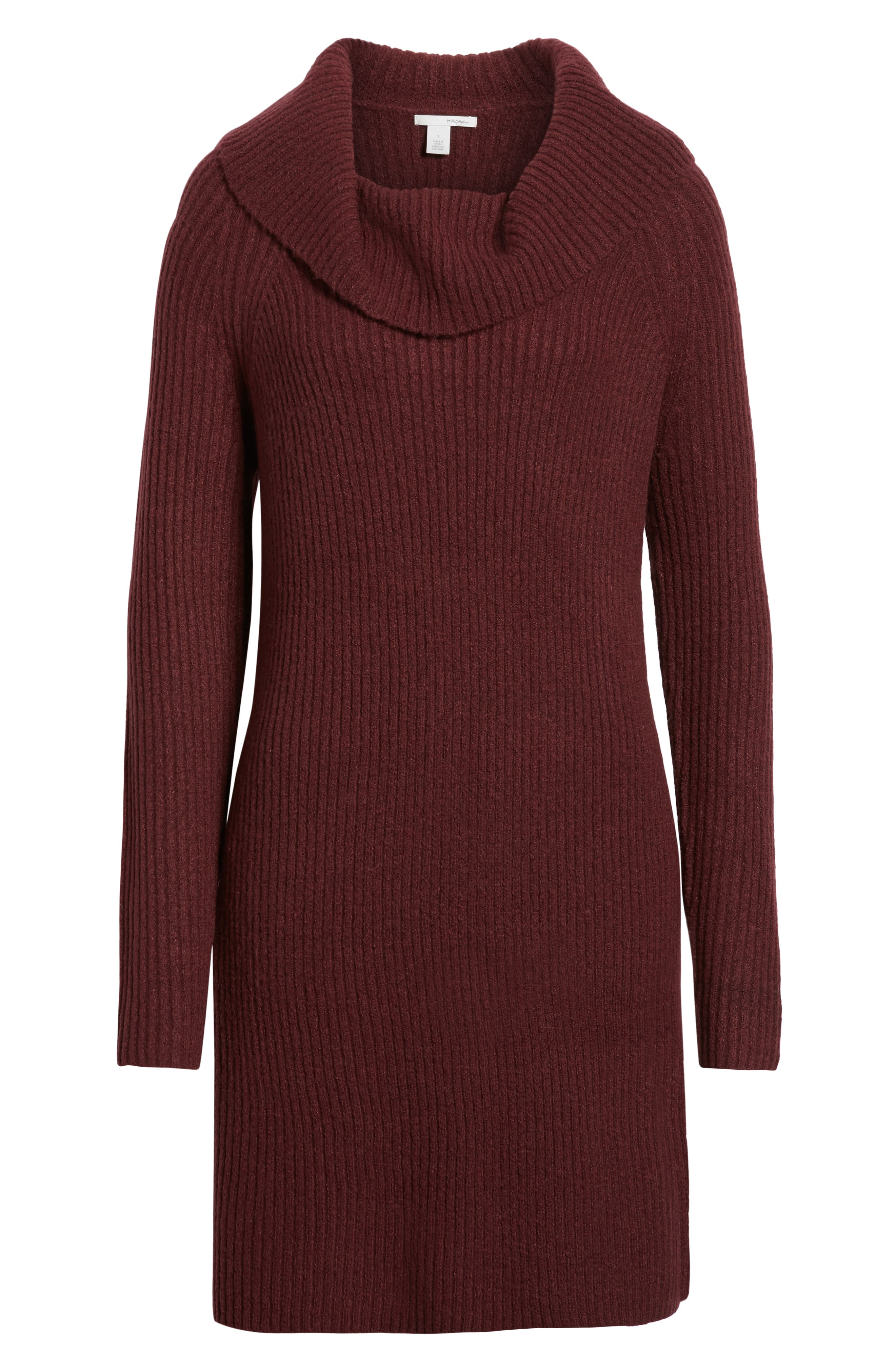 Halogen Cowl Neck Sweater Dress, Burgundy