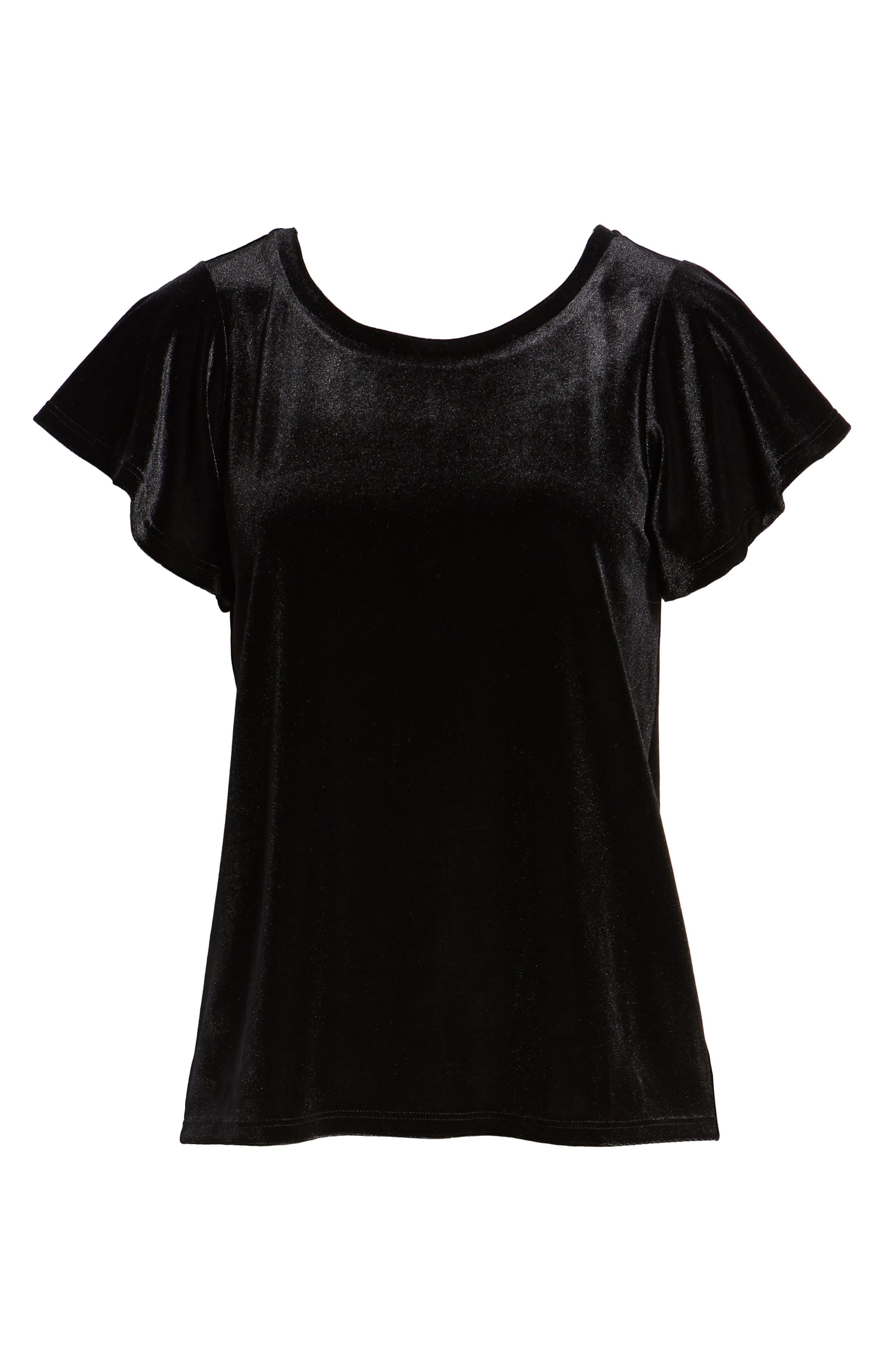 x Glam Squad Velvet Flutter Sleeve Shirt,                             Alternate thumbnail 7, color,                             BLACK