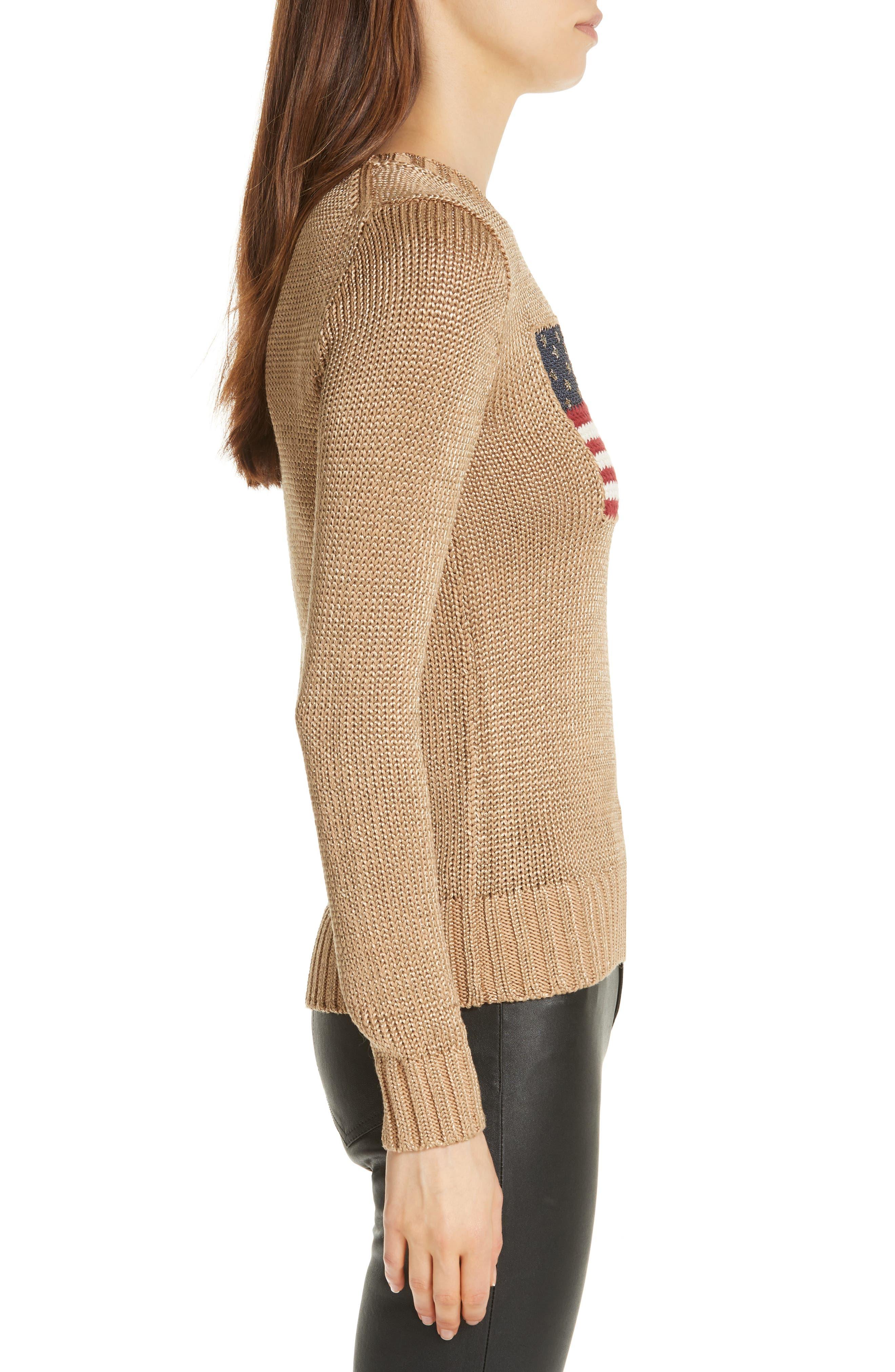 Metallic Cotton Blend Flag Sweater,                             Alternate thumbnail 3, color,                             GOLD MULTI