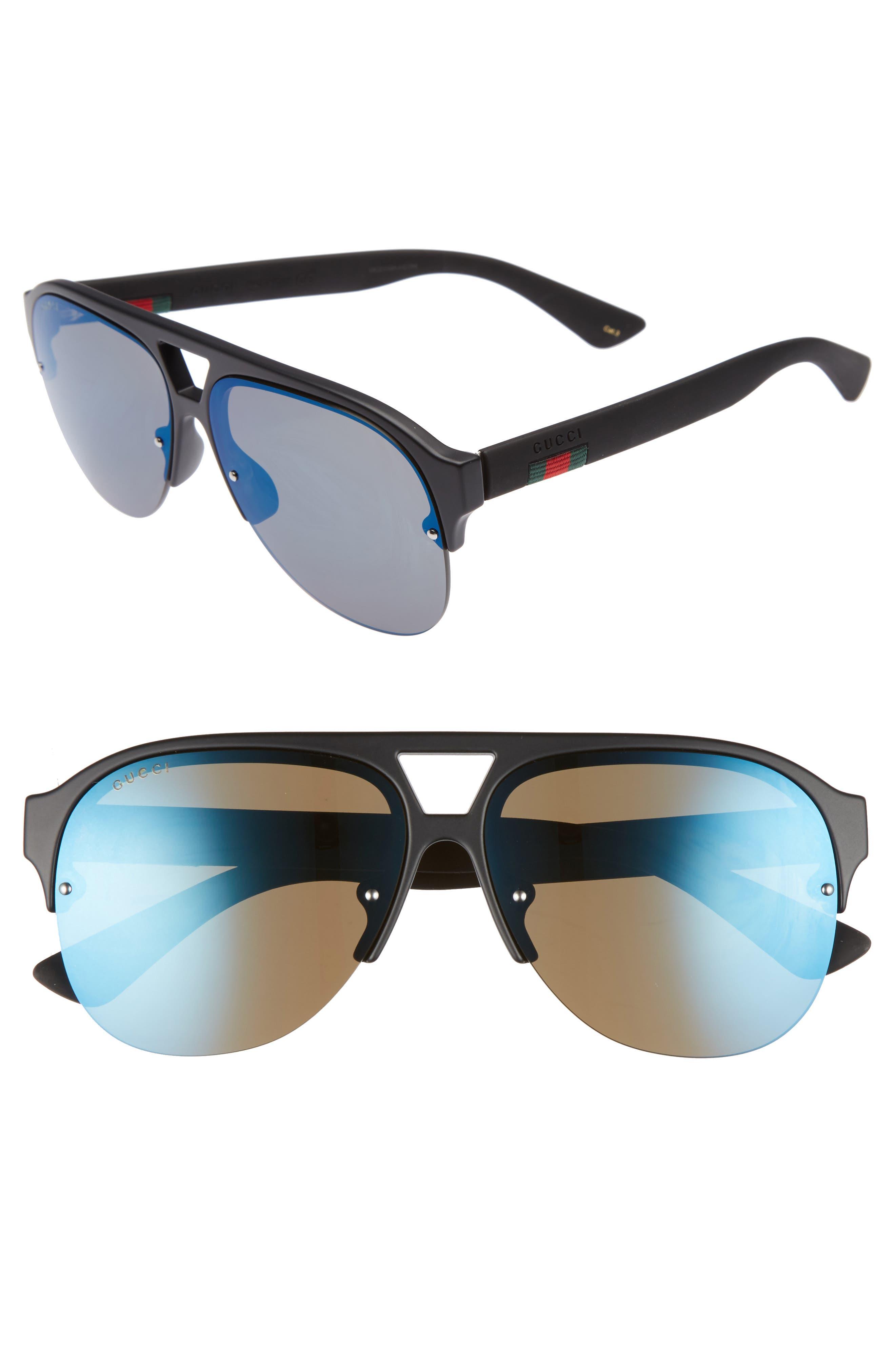 59mm Semi Rimless Sunglasses,                         Main,                         color, MATTE BLACK