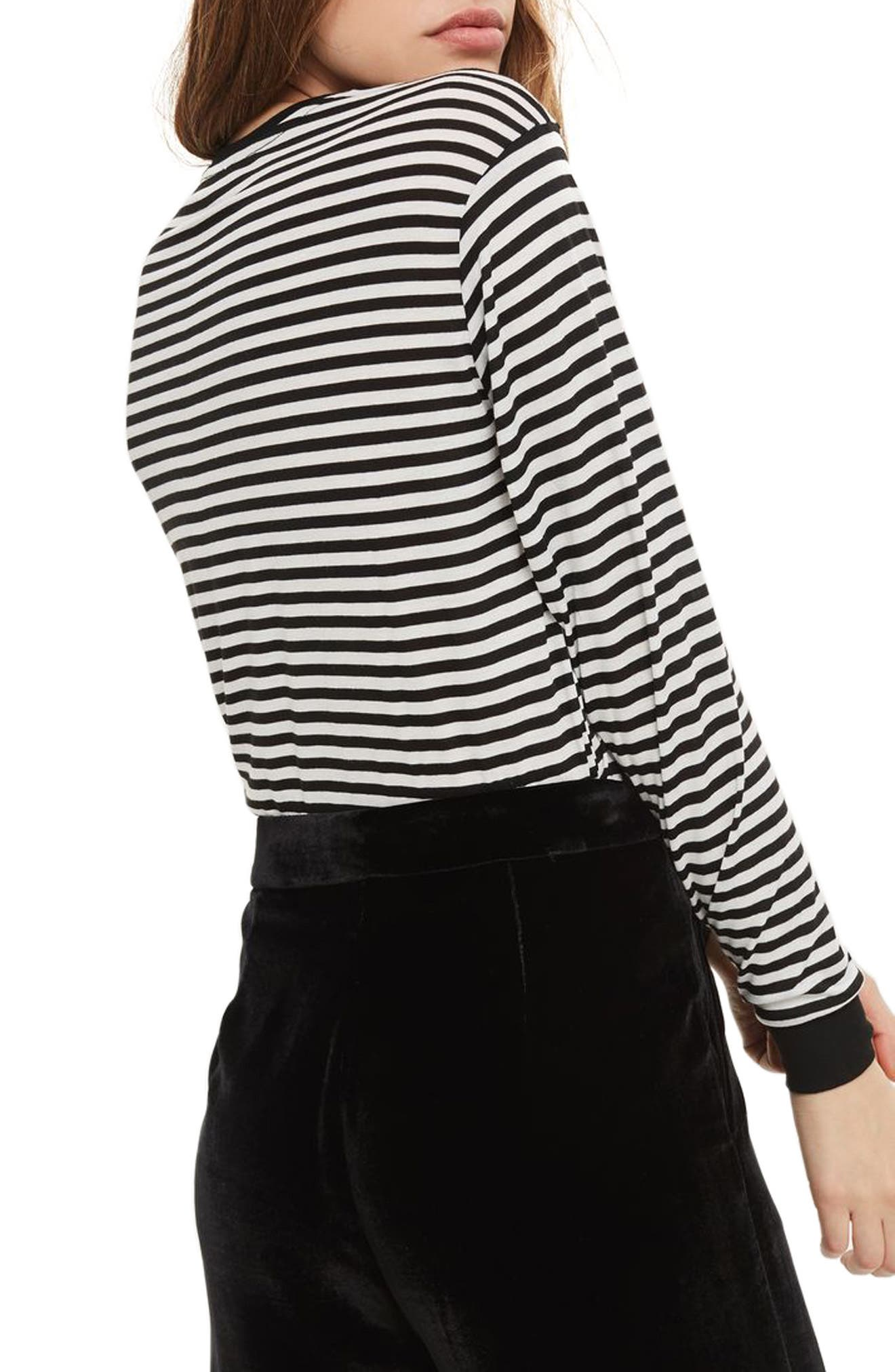Embroidered Ciao Stripe Tee,                             Alternate thumbnail 2, color,                             001