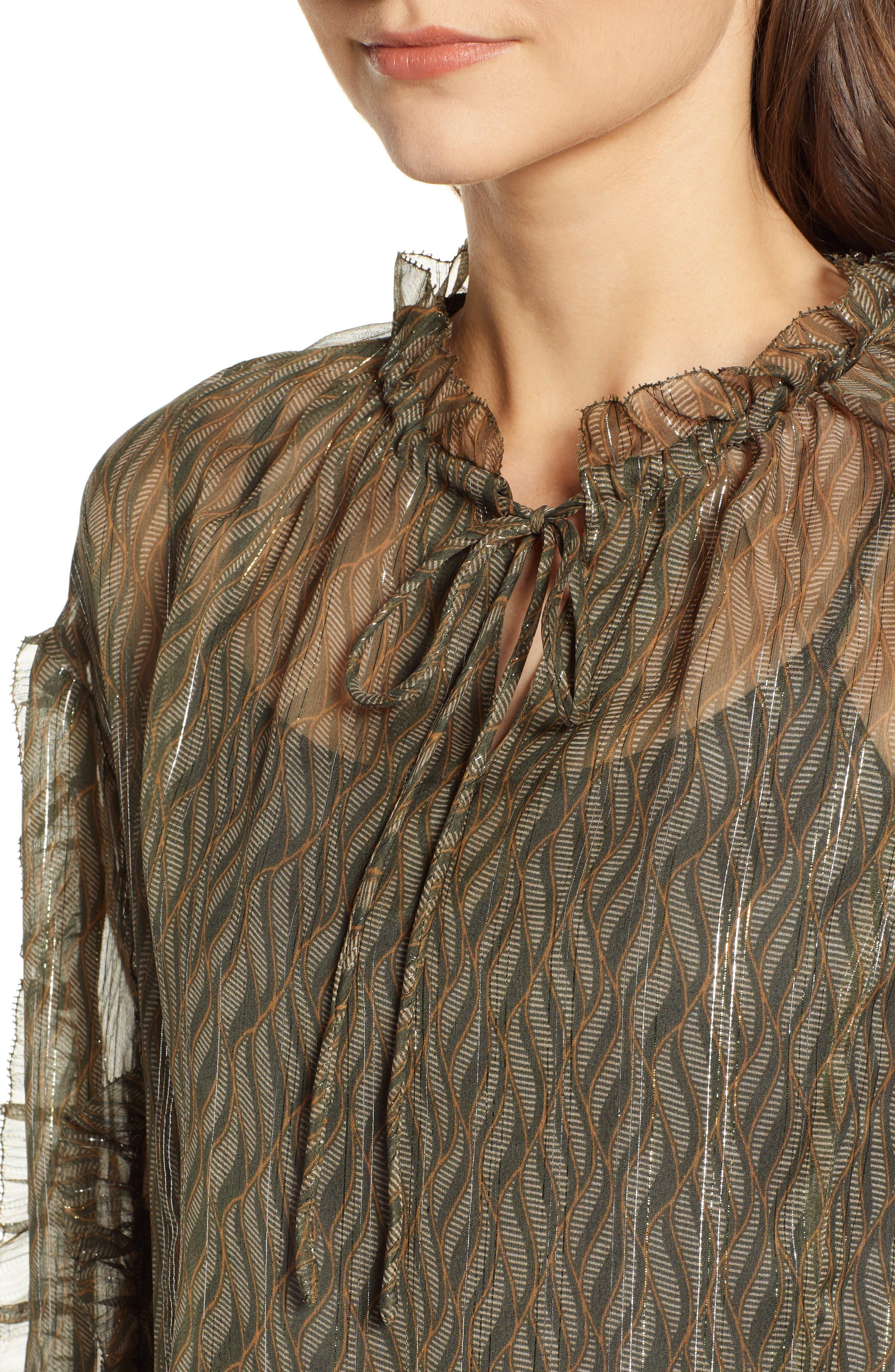 Metallic Detail Sheer Ruffle Blouse,                             Alternate thumbnail 4, color,                             SAGE GREEN PRINT W/