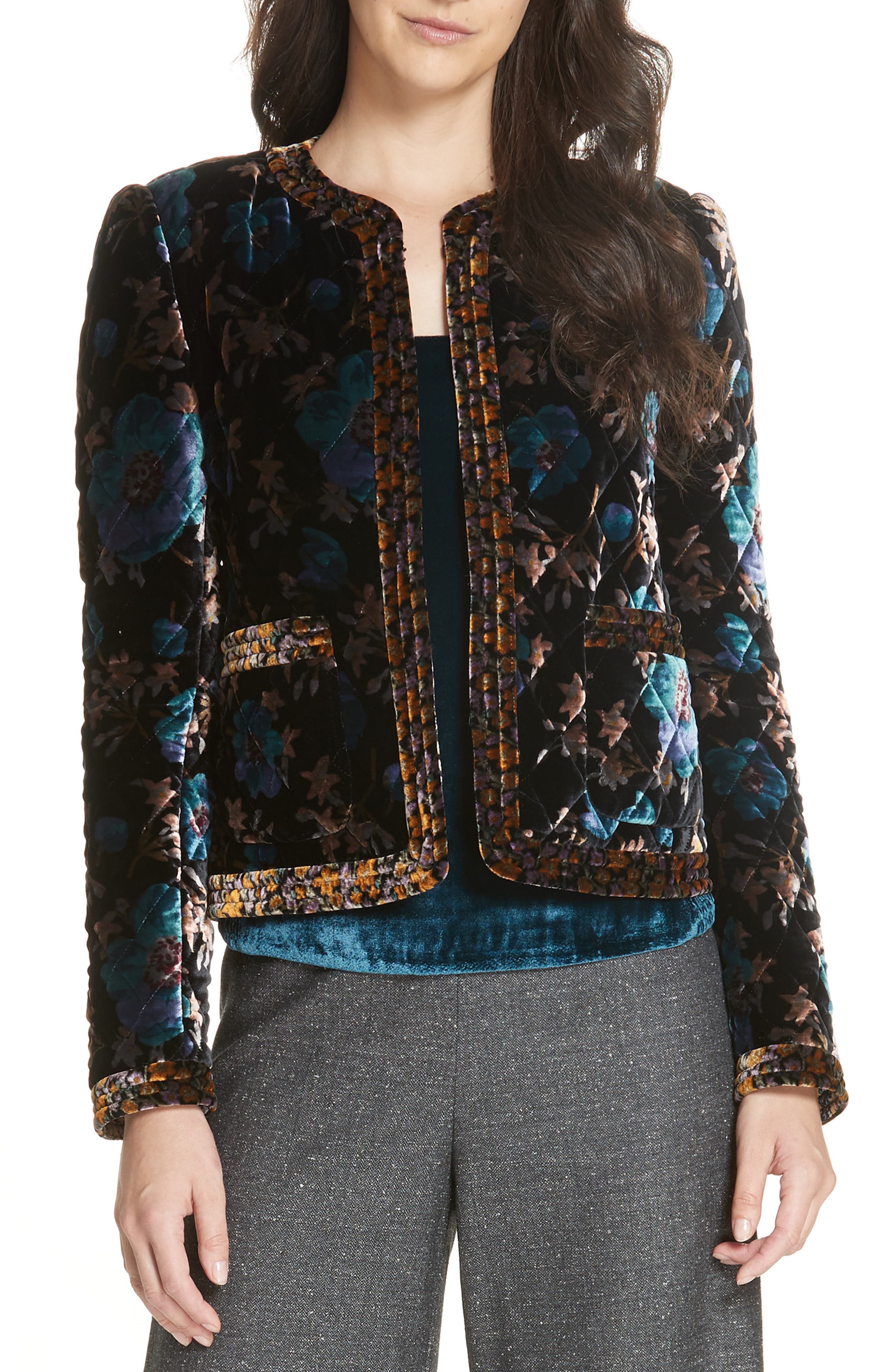Solstice Quilted Velvet Jacket,                             Main thumbnail 1, color,                             BLACK COMBO