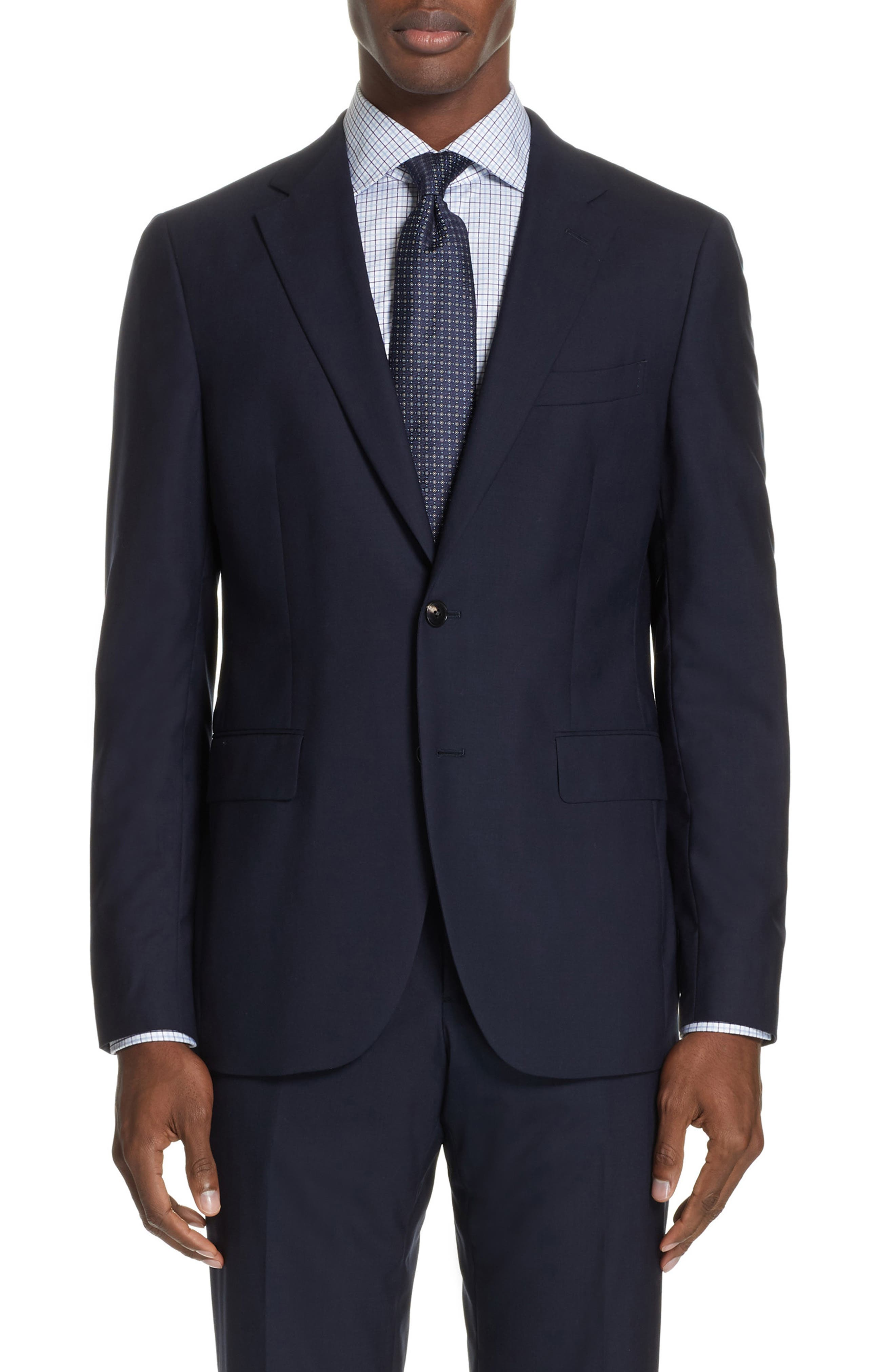 Milano Trim Fit Solid Wool Suit,                             Alternate thumbnail 5, color,                             NAVY