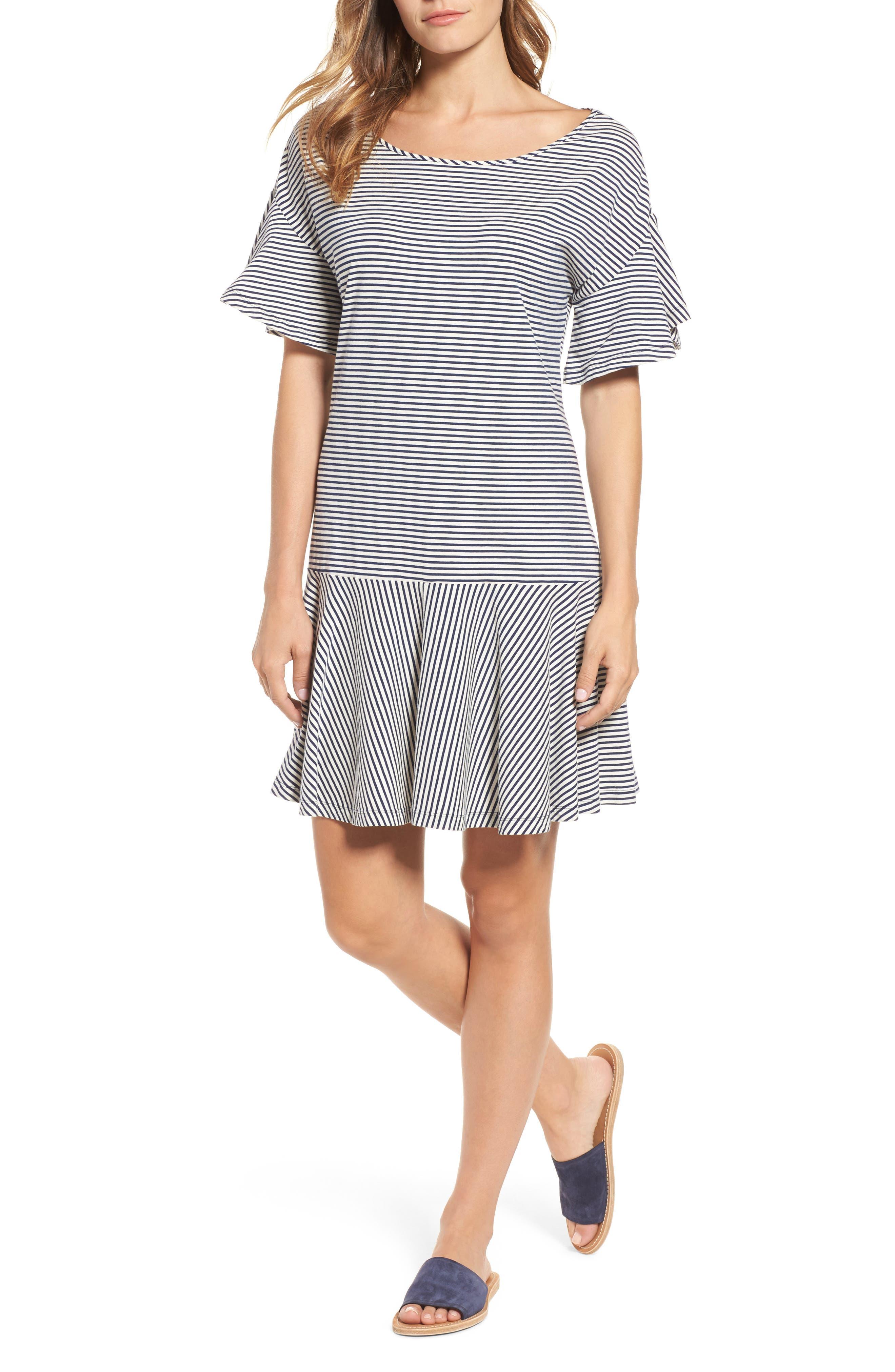 Stripe Flounce Dress,                             Main thumbnail 1, color,