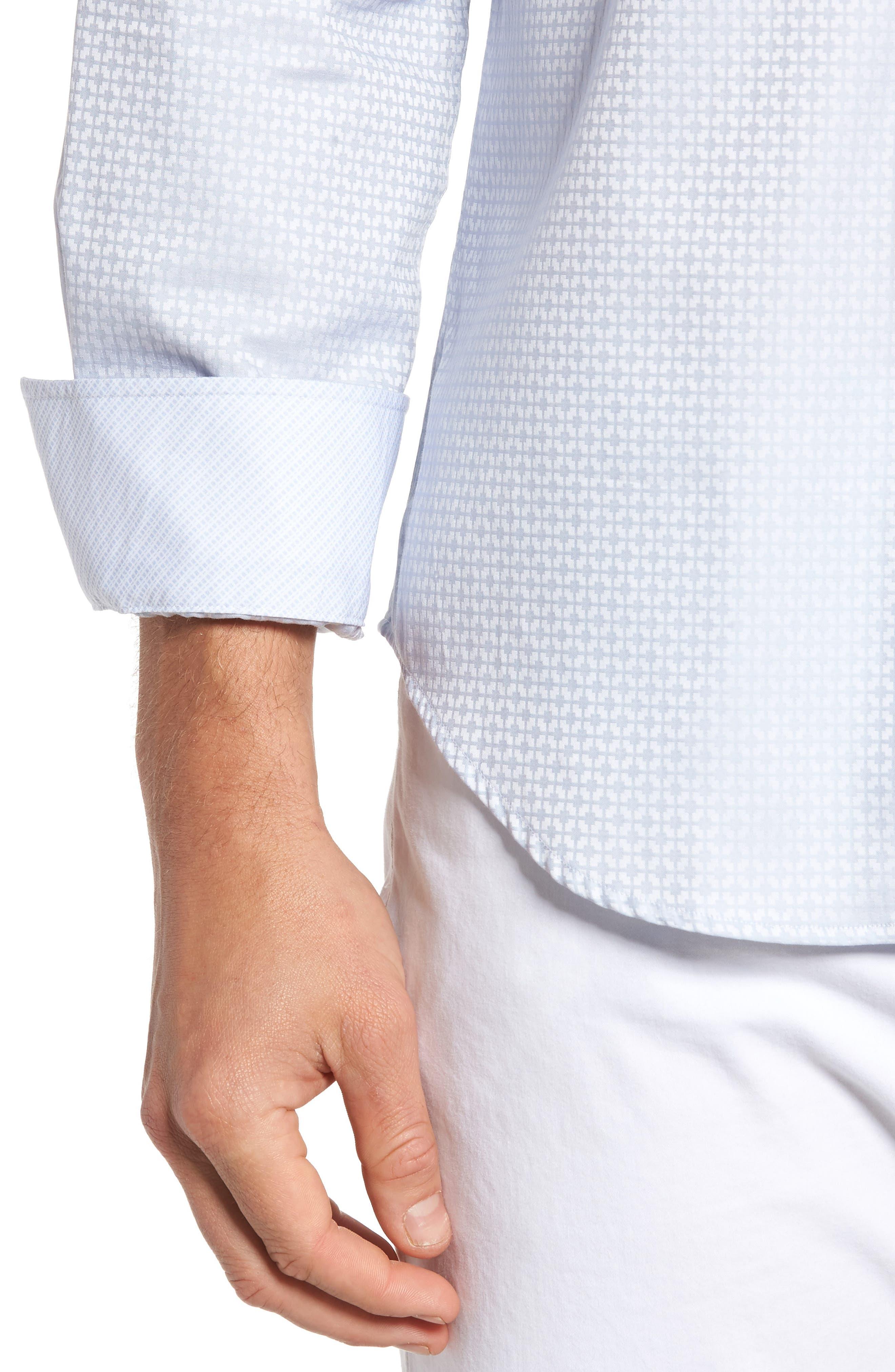 Shaped Fit Grid Sport Shirt,                             Alternate thumbnail 4, color,                             028