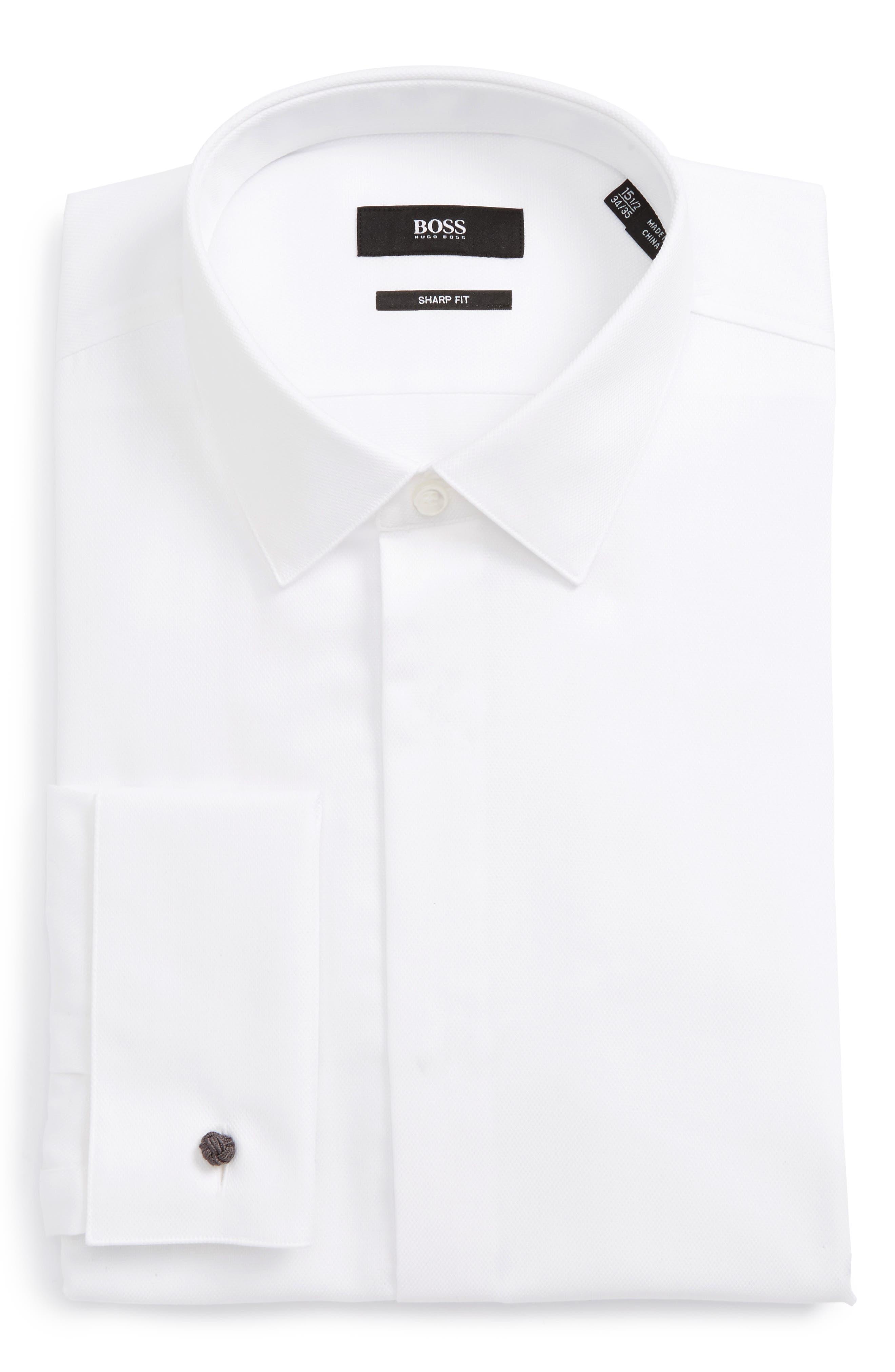 Myron Sharp Fit Tuxedo Shirt,                             Alternate thumbnail 5, color,                             WHITE