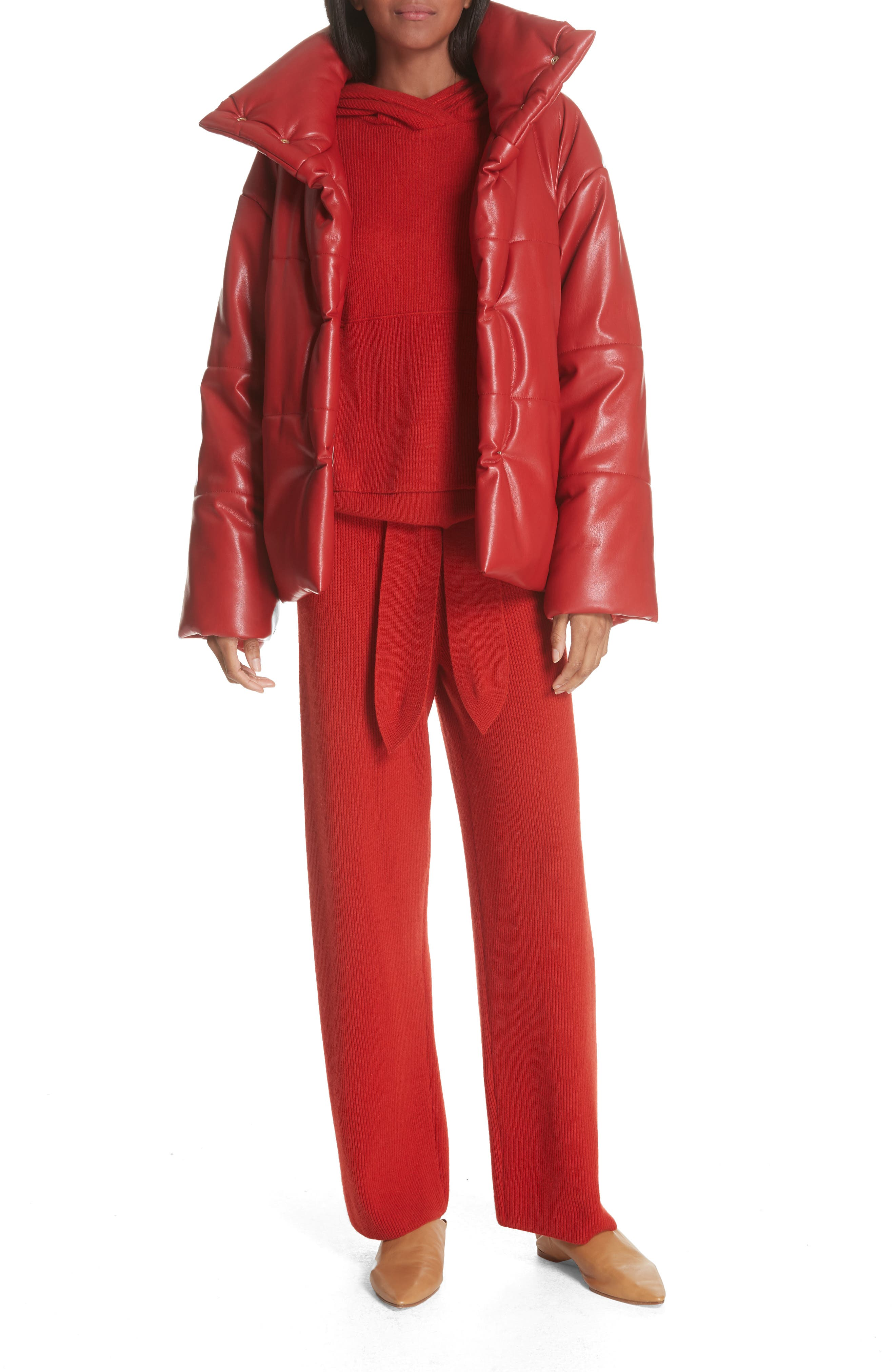 Hide Faux Leather Puffer Jacket,                             Alternate thumbnail 7, color,                             RED