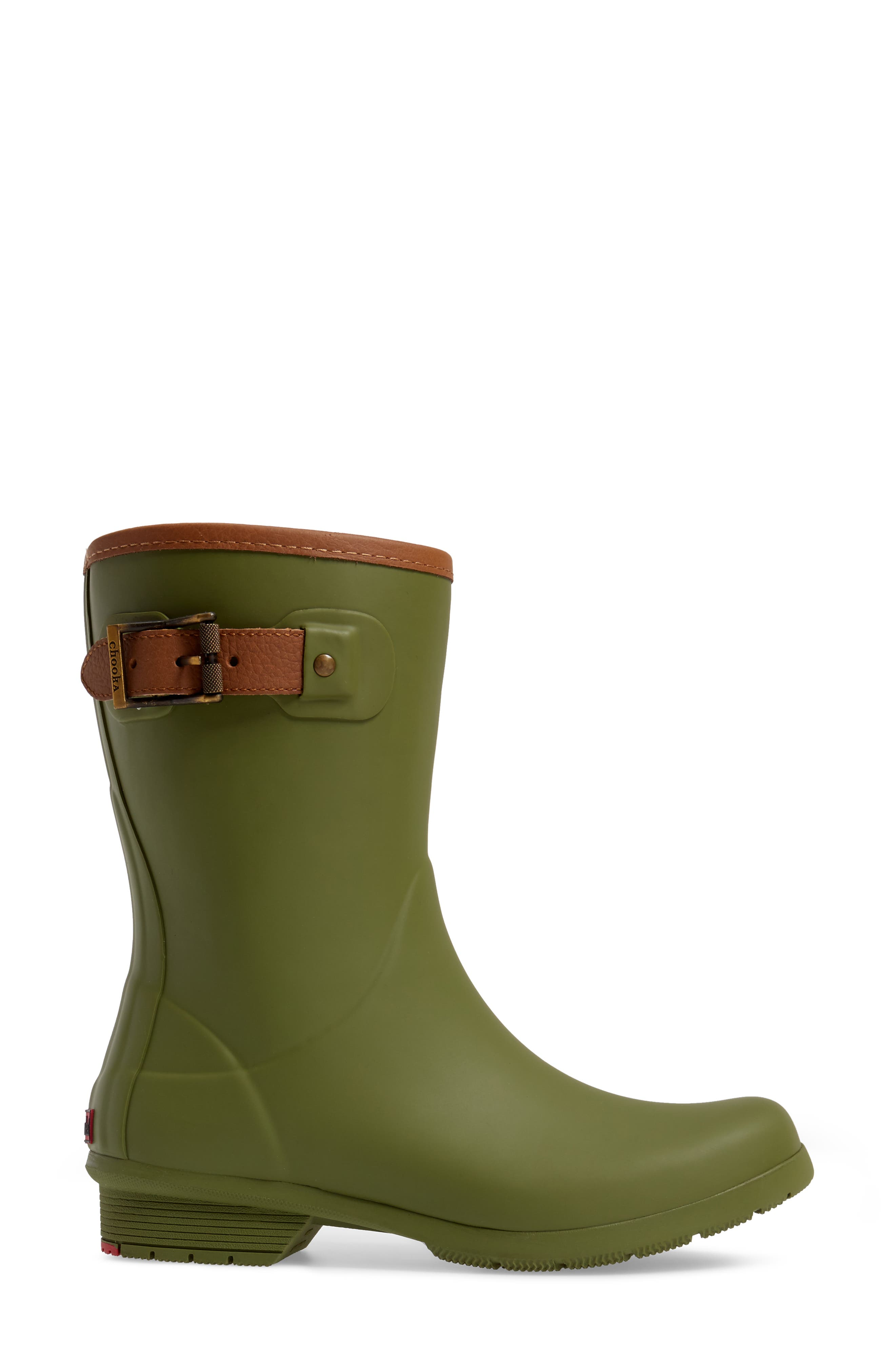 City Solid Mid Height Rain Boot,                             Alternate thumbnail 3, color,                             OLIVE