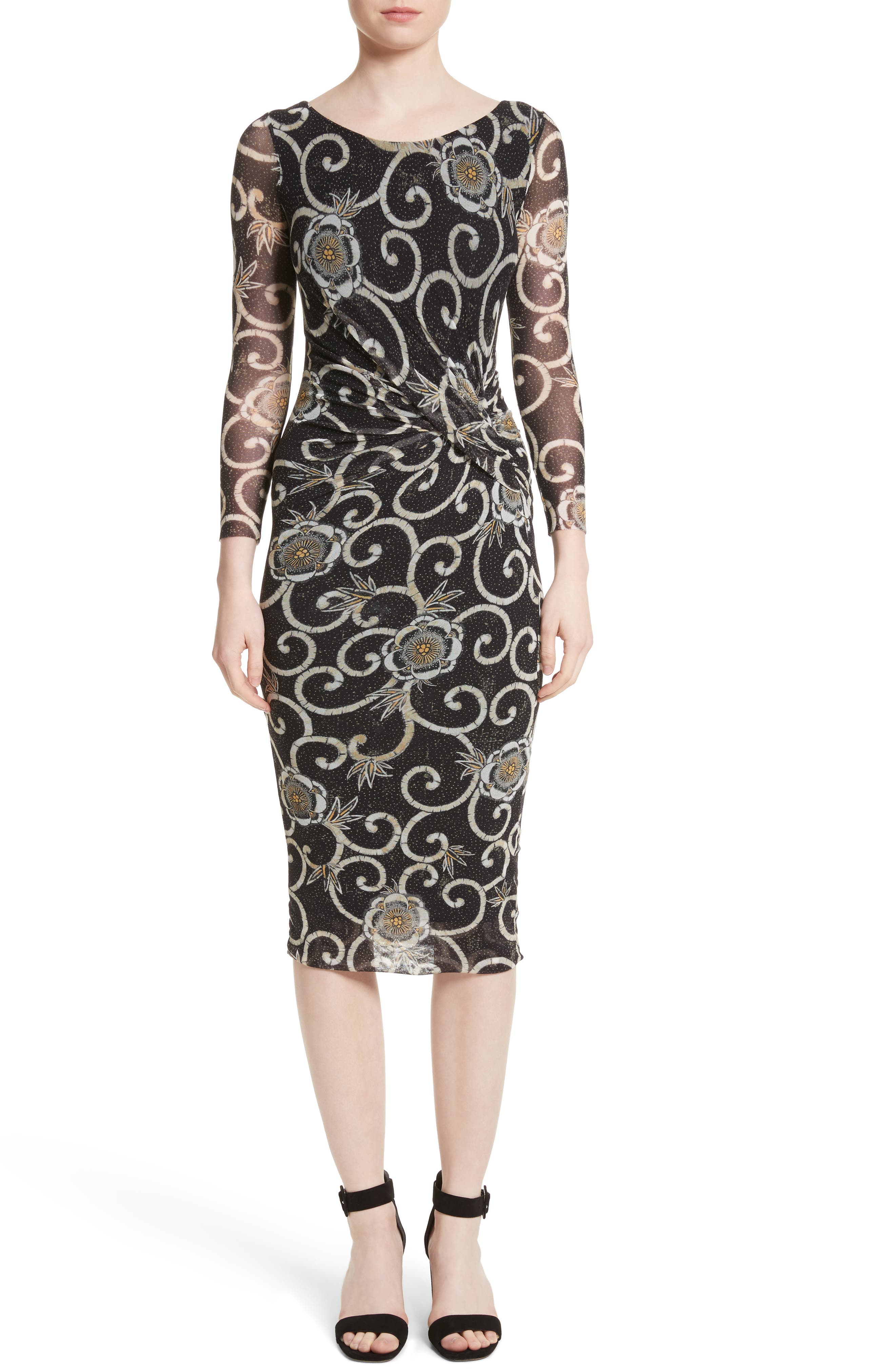 Floral Print Ruched Tulle Dress,                             Main thumbnail 1, color,                             001