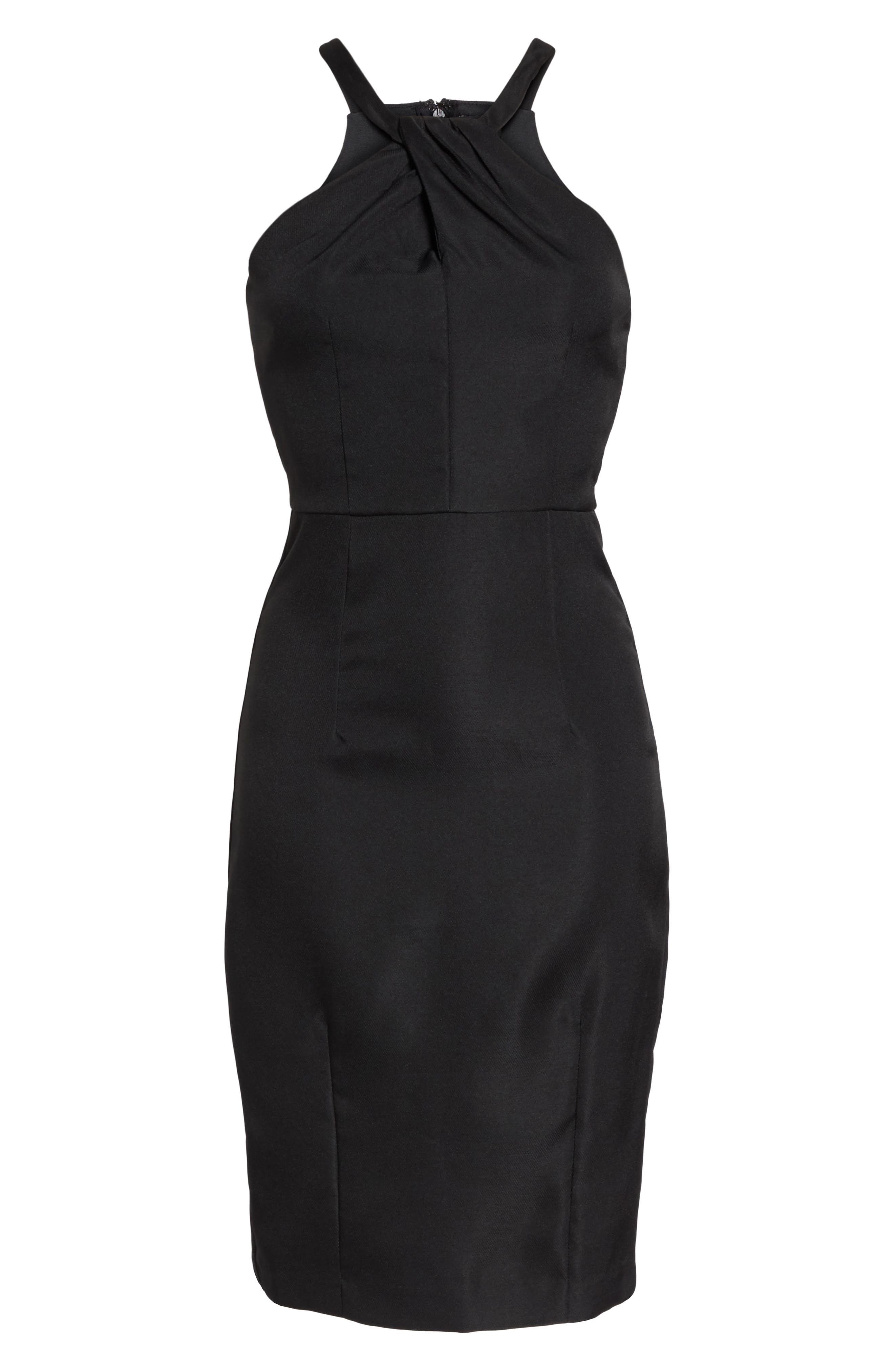 Be My Baby Halter Sheath Dress,                             Alternate thumbnail 7, color,                             BLACK