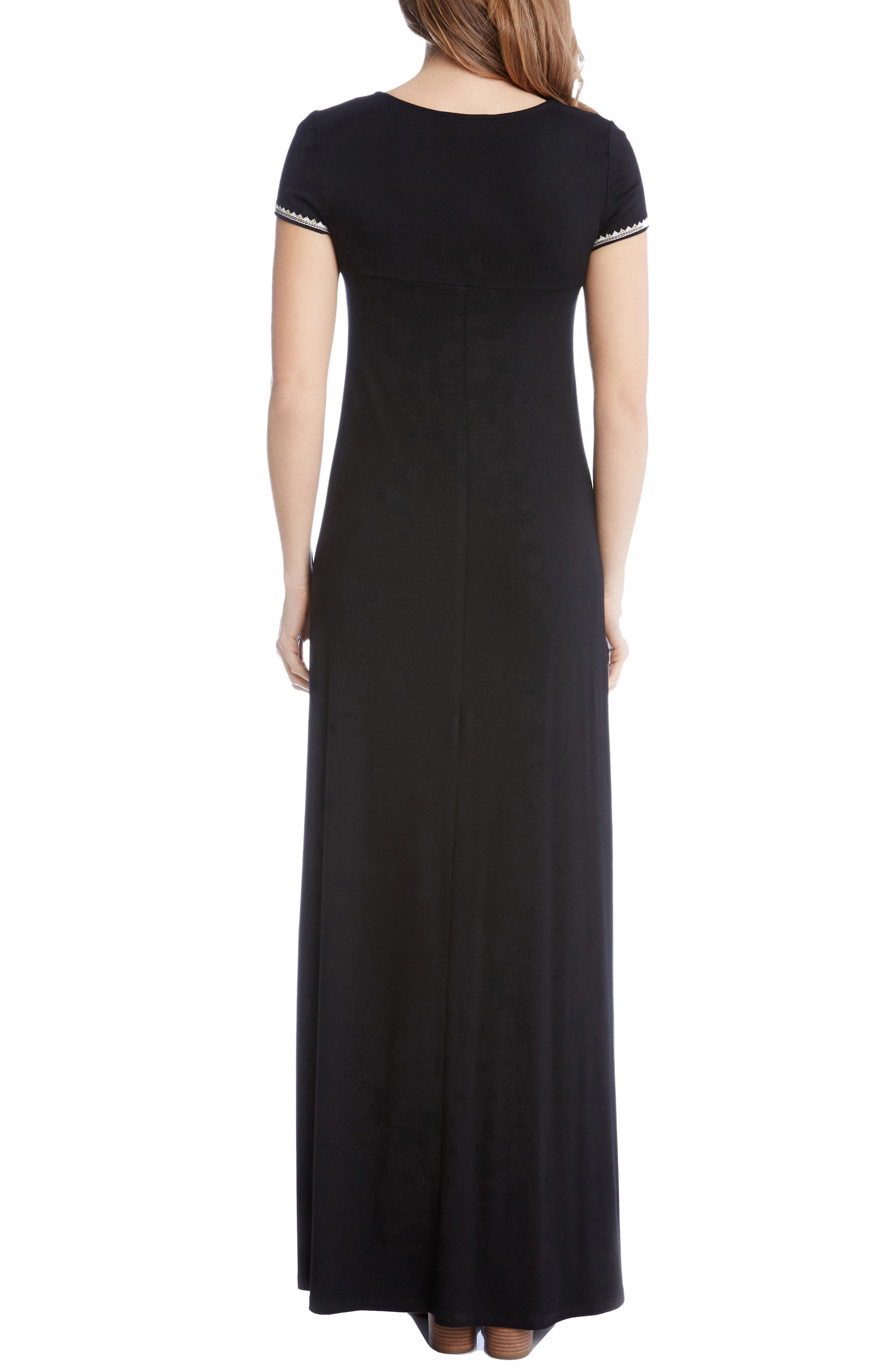 Embroidered Cap Sleeve Maxi Dress,                             Alternate thumbnail 2, color,                             001