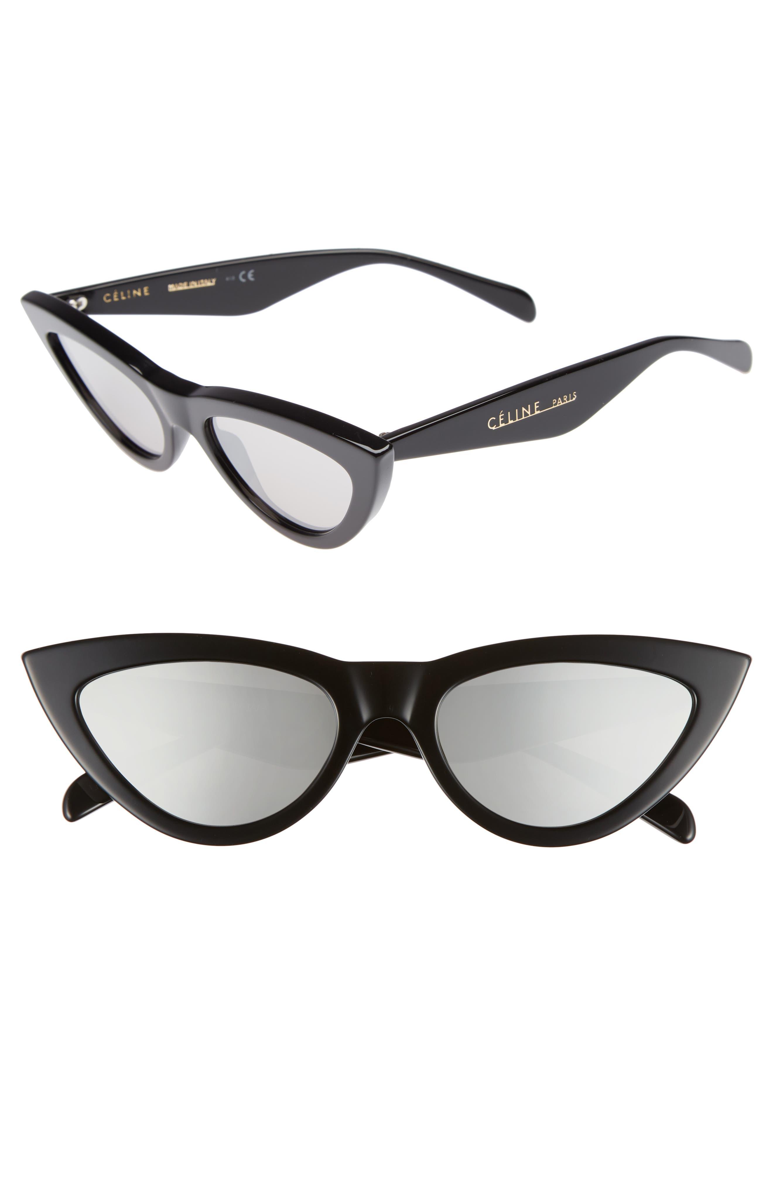 56mm Cat Eye Sunglasses,                             Main thumbnail 1, color,                             BLACK/ SILVER FLASH