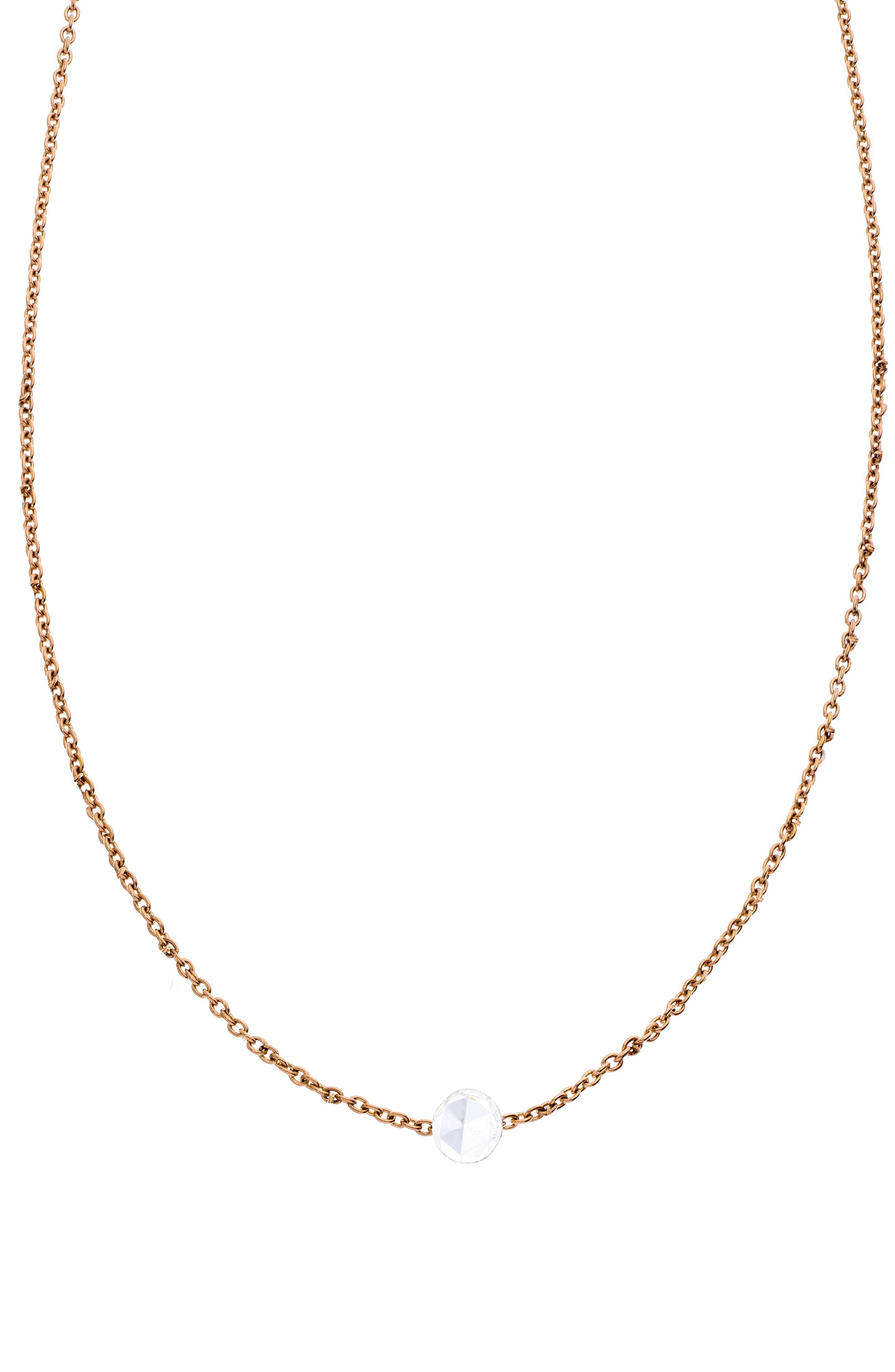 SETHI COUTURE Rose-Cut Diamond Pendant Necklace in Rose Gold/ Diamond