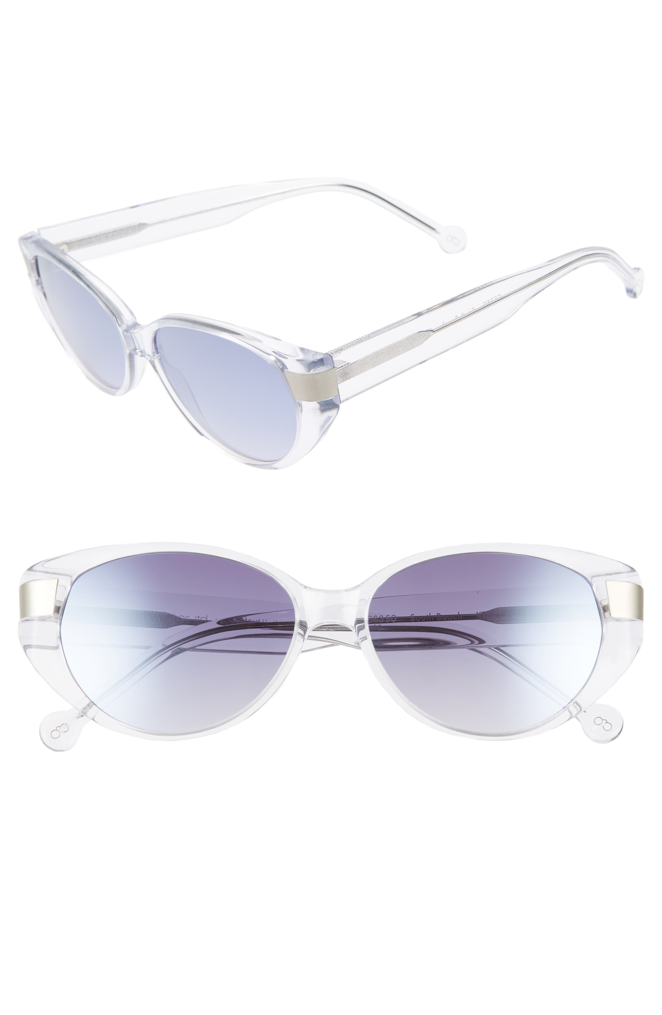 Southbeach 54mm Gradient Cat Eye Sunglasses, Main, color, CRYSTAL