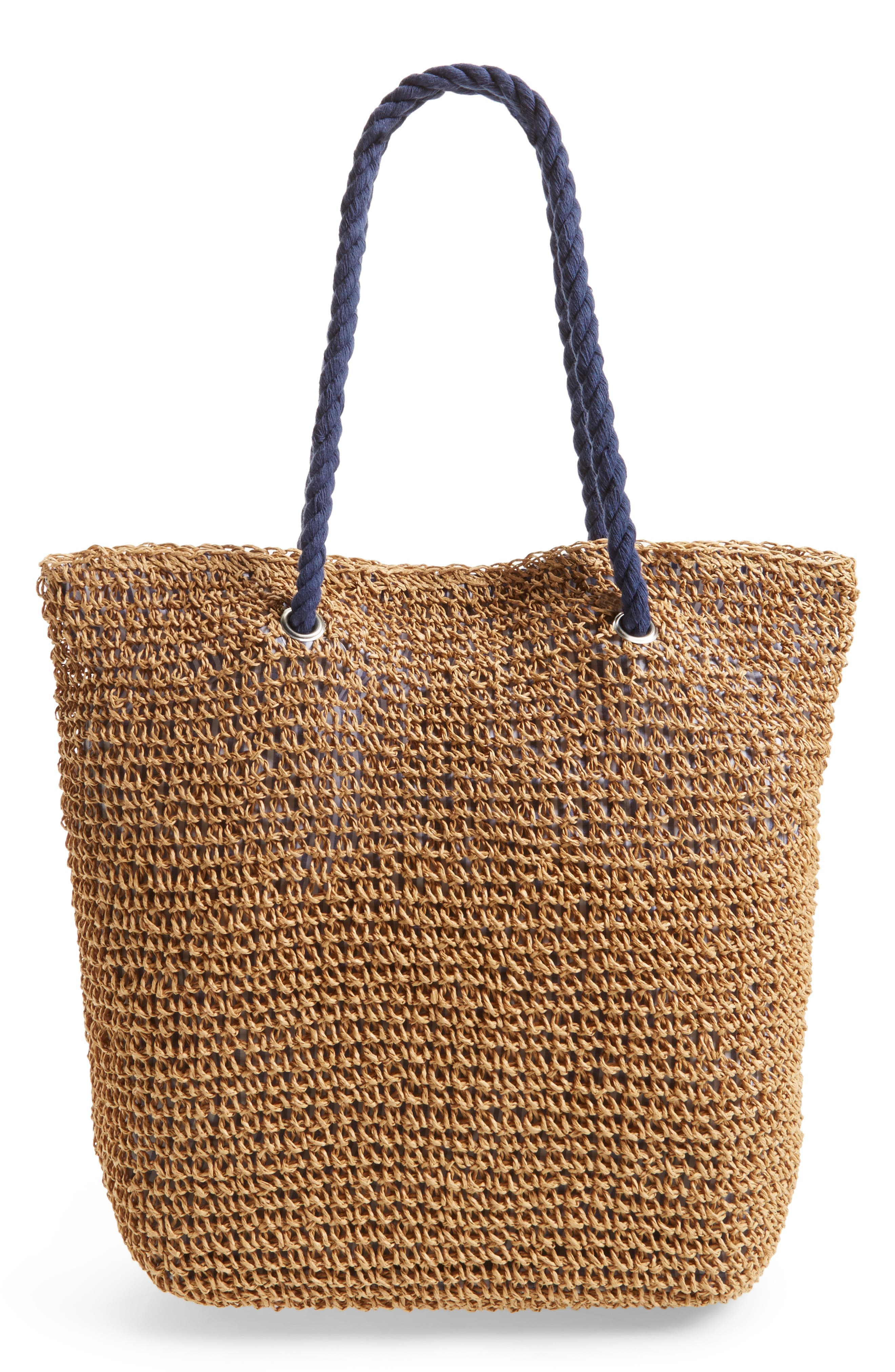 Rope & Straw Tote,                             Alternate thumbnail 3, color,                             200