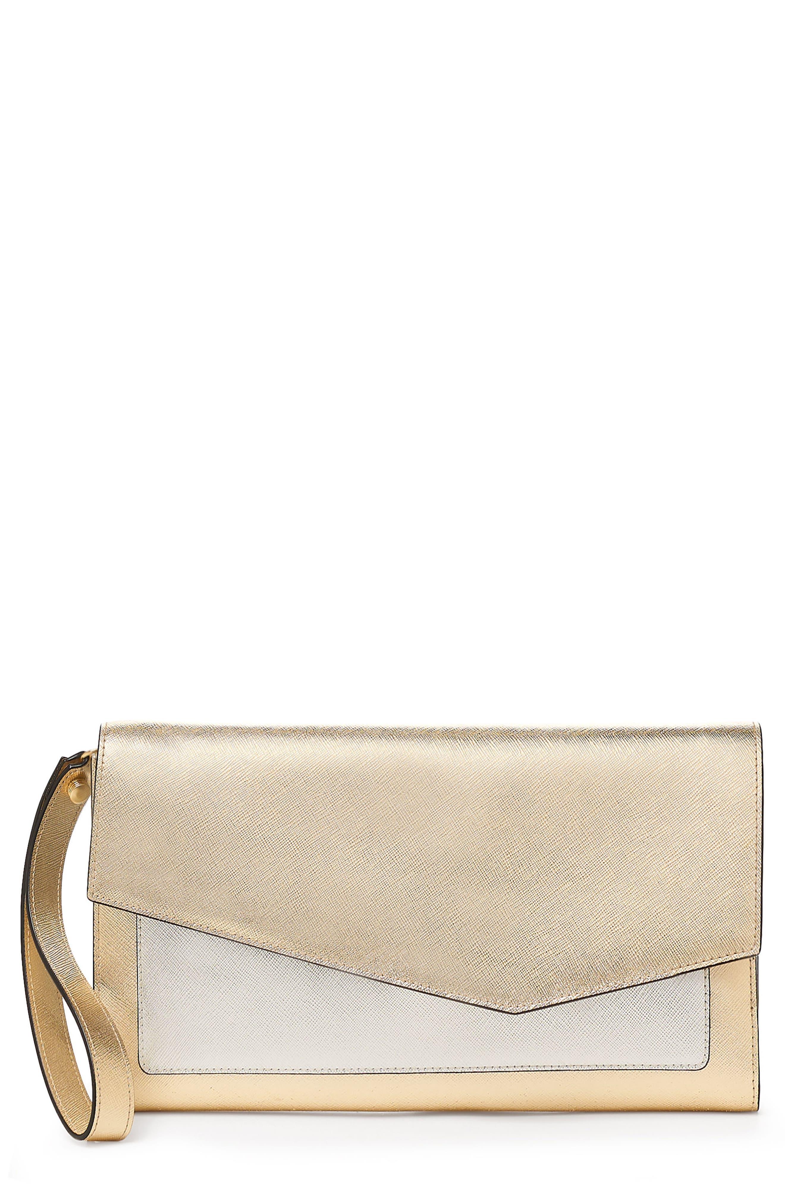 Cobble Hill Leather Wallet,                             Main thumbnail 1, color,                             GOLD COLORBLOCK