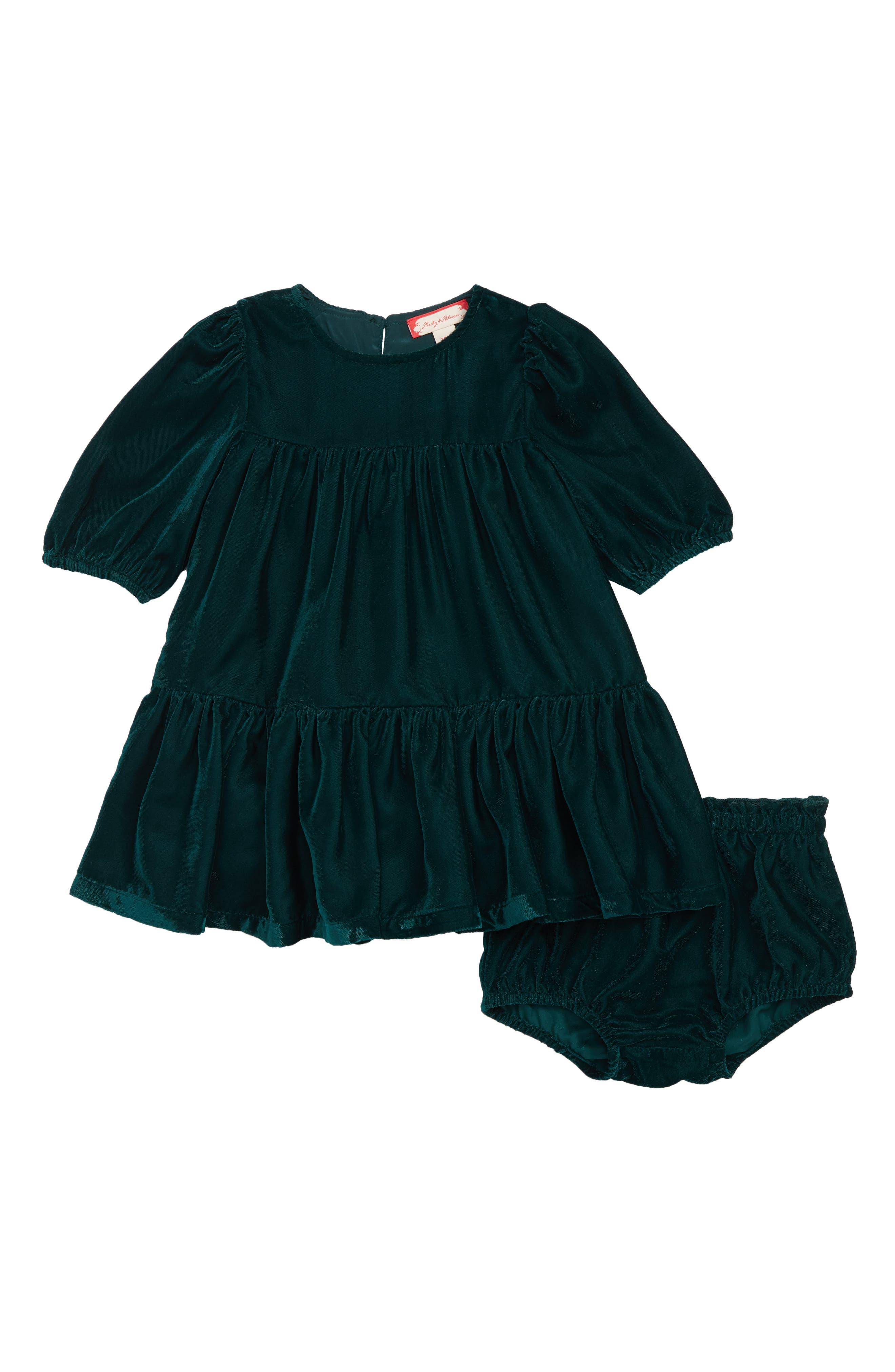 Tiered Velvet Dress,                         Main,                         color, GREEN PONDEROSA