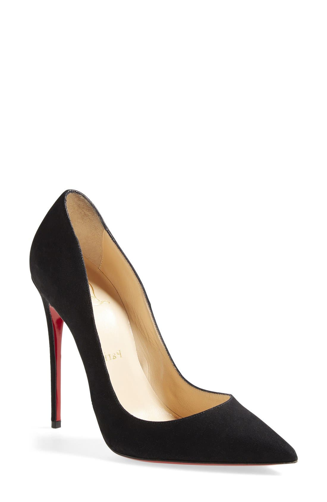 CHRISTIAN LOUBOUTIN,                             'So Kate' Pointy Toe Suede Pump,                             Main thumbnail 1, color,                             001