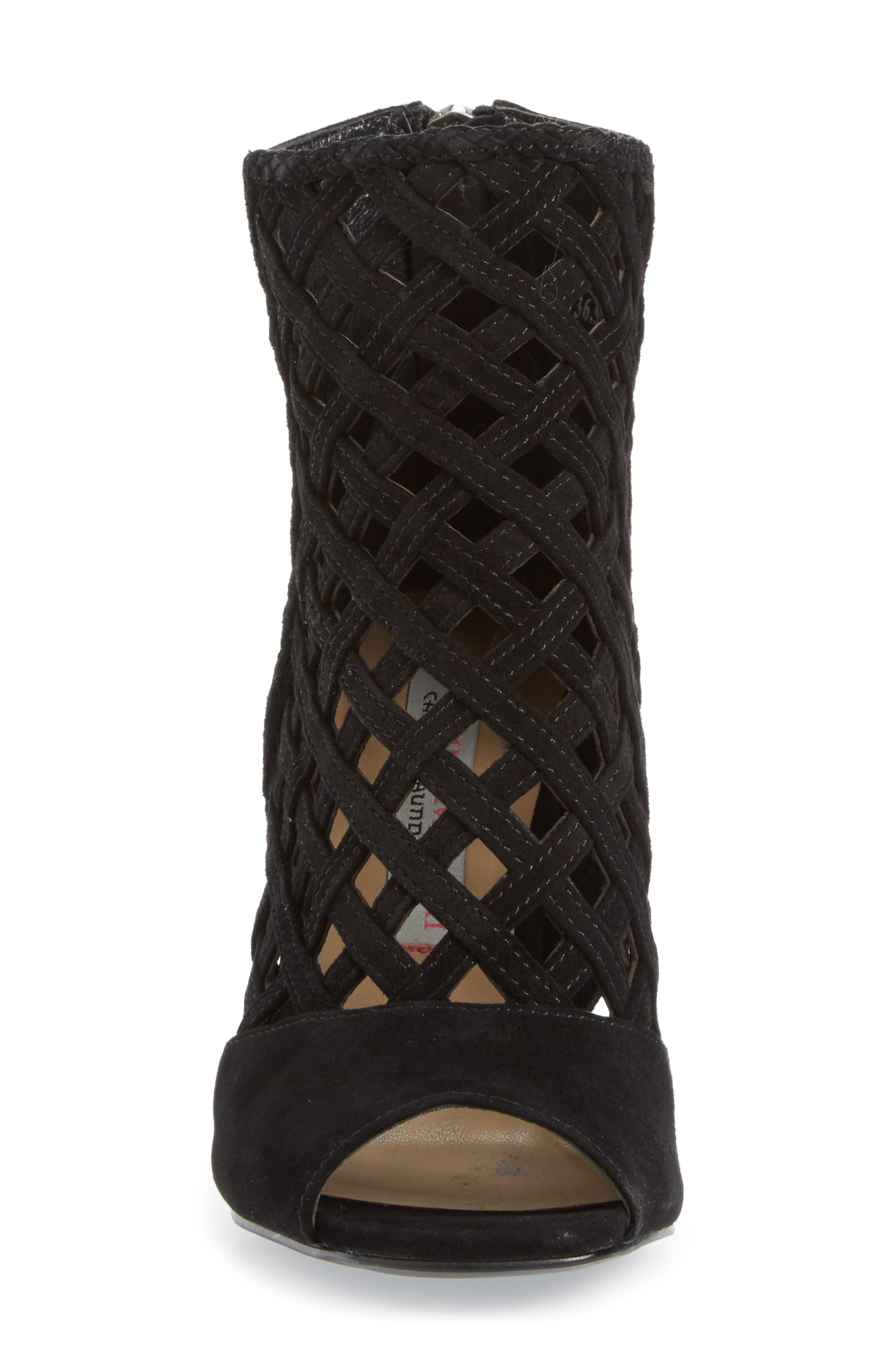 Luxembourg Cage Peep Toe Bootie,                             Alternate thumbnail 3, color,                             001