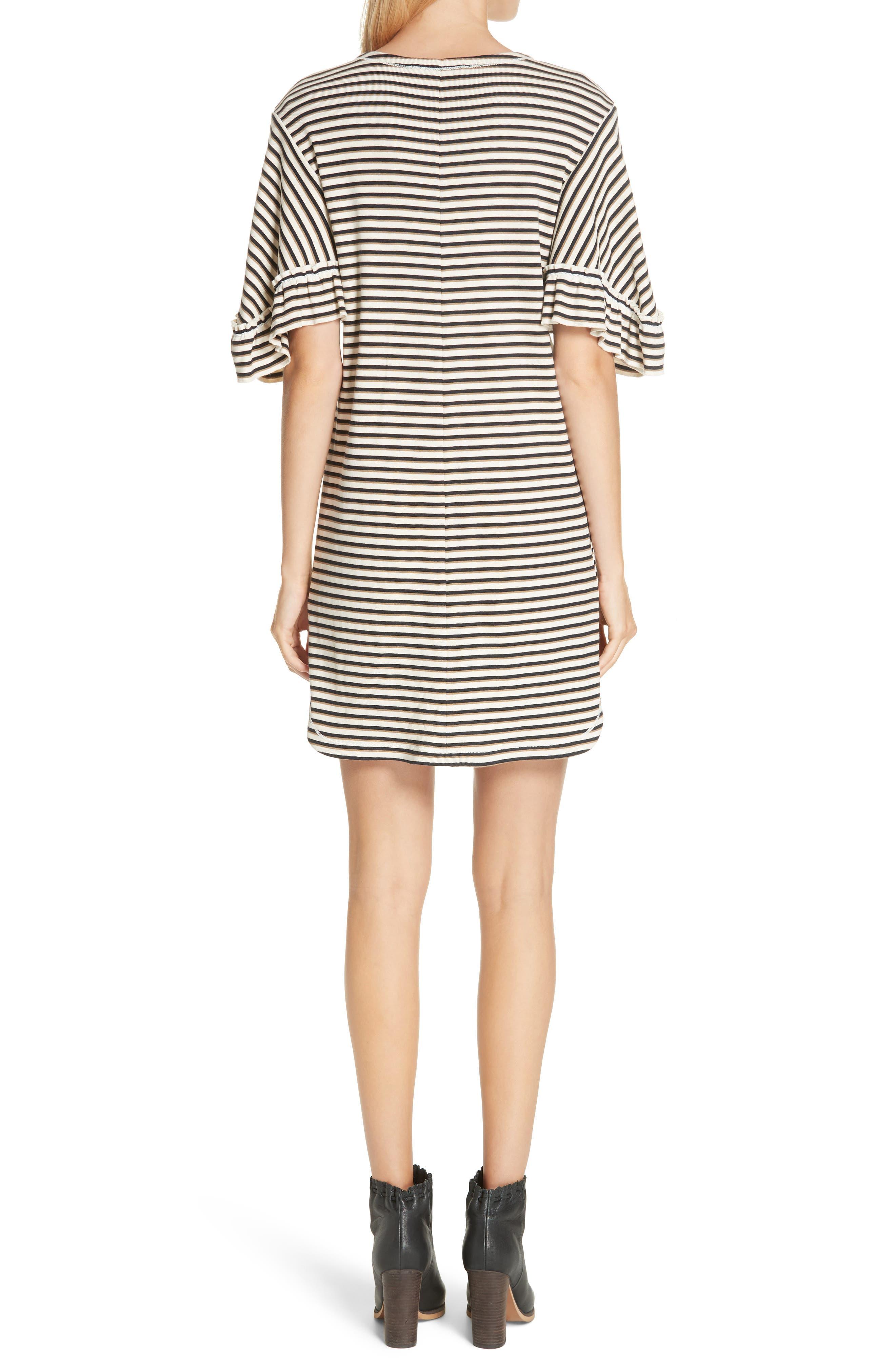 Stripe Ruffle Sleeve Shift Dress,                             Alternate thumbnail 2, color,                             WHITE - BEIGE 1