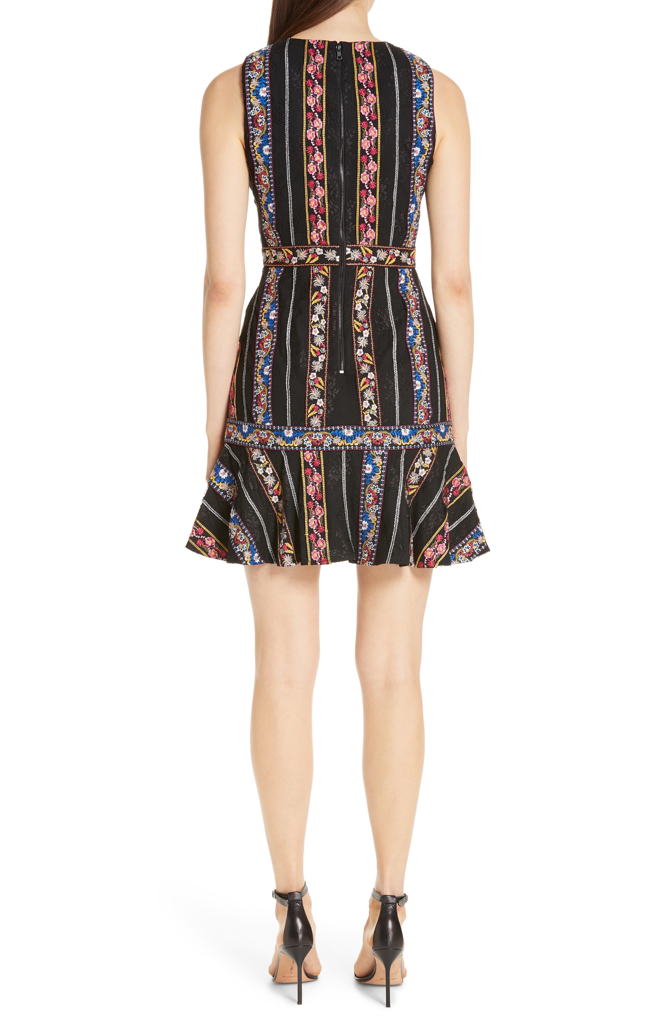 Imani Embroidered Fit & Flare Dress,                             Alternate thumbnail 2, color,                             BLACK/ MULTI