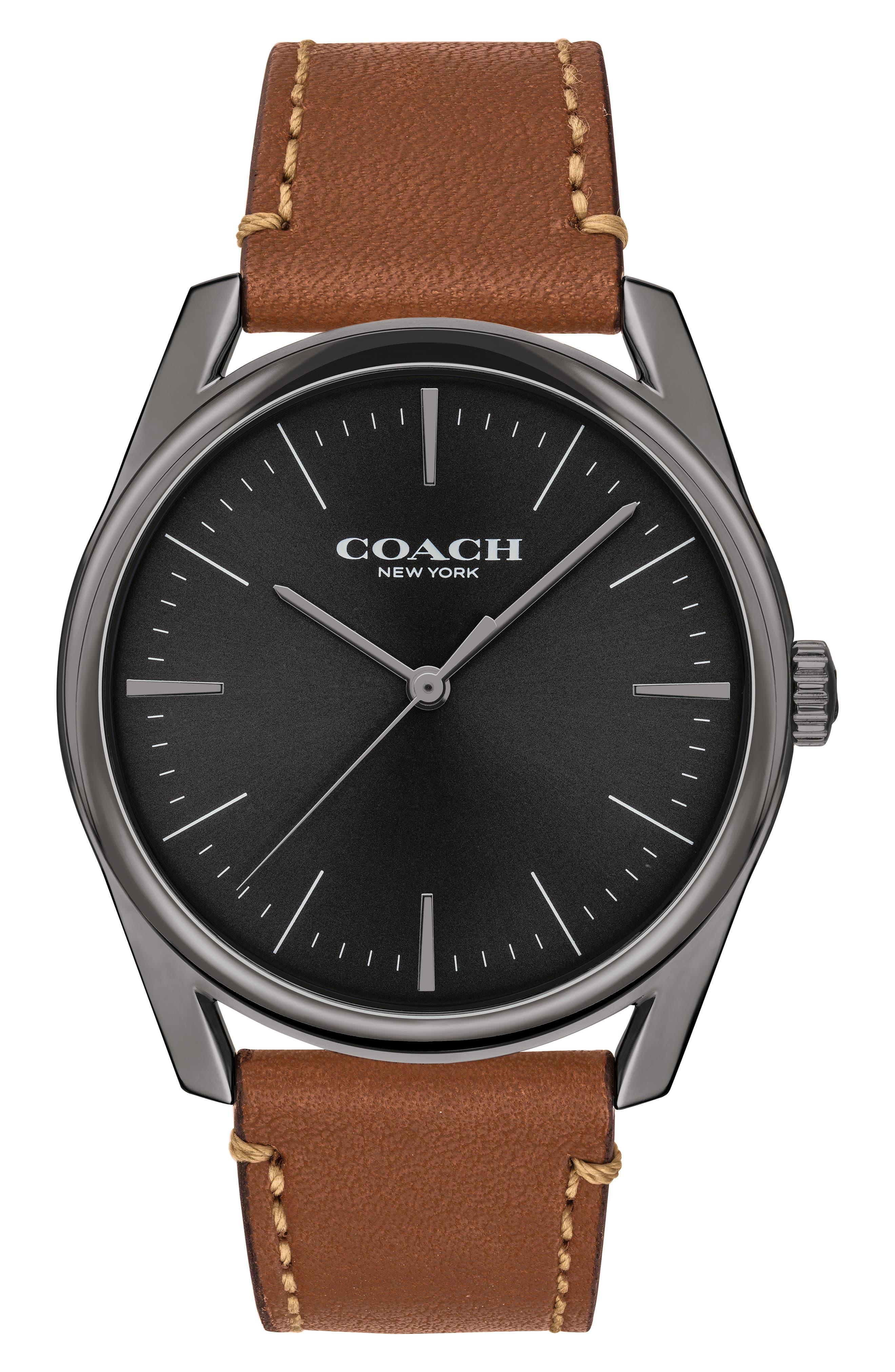 Preston Leather Strap Watch, 41mm,                         Main,                         color, 201