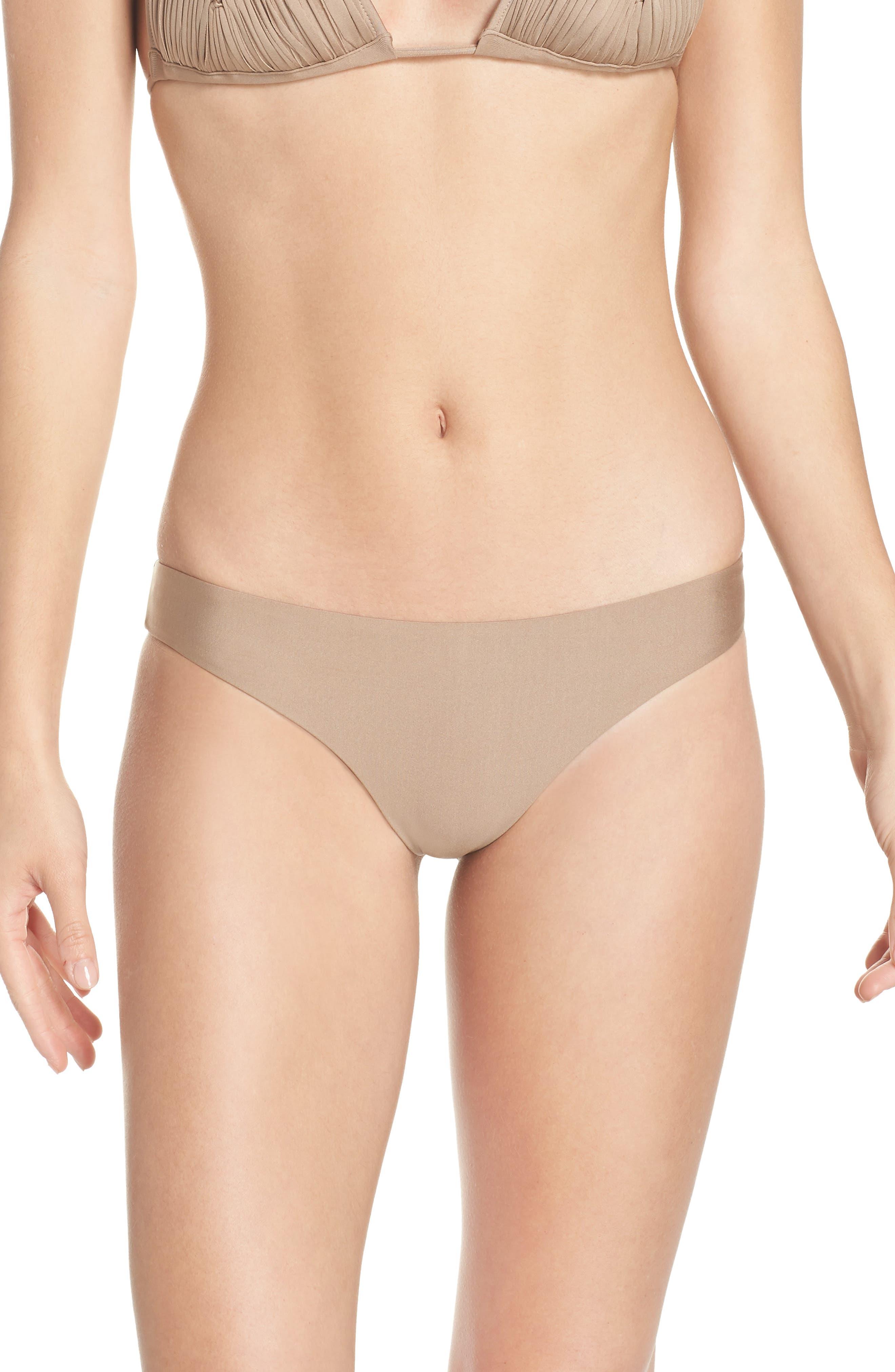 Pilyq Ruched Bikini Bottoms, Beige