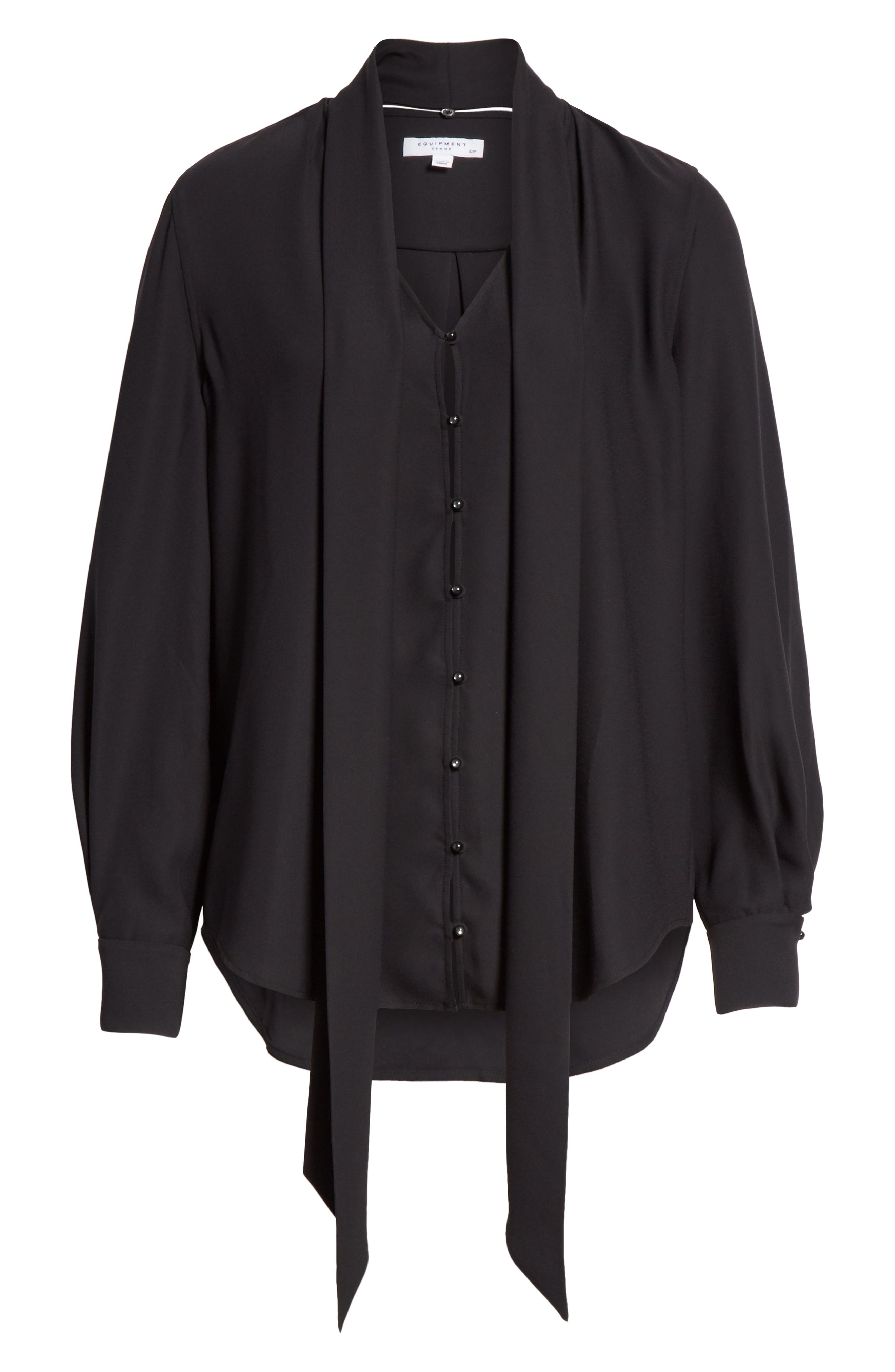 Haty Button Front Shirt,                             Alternate thumbnail 7, color,                             TRUE BLACK
