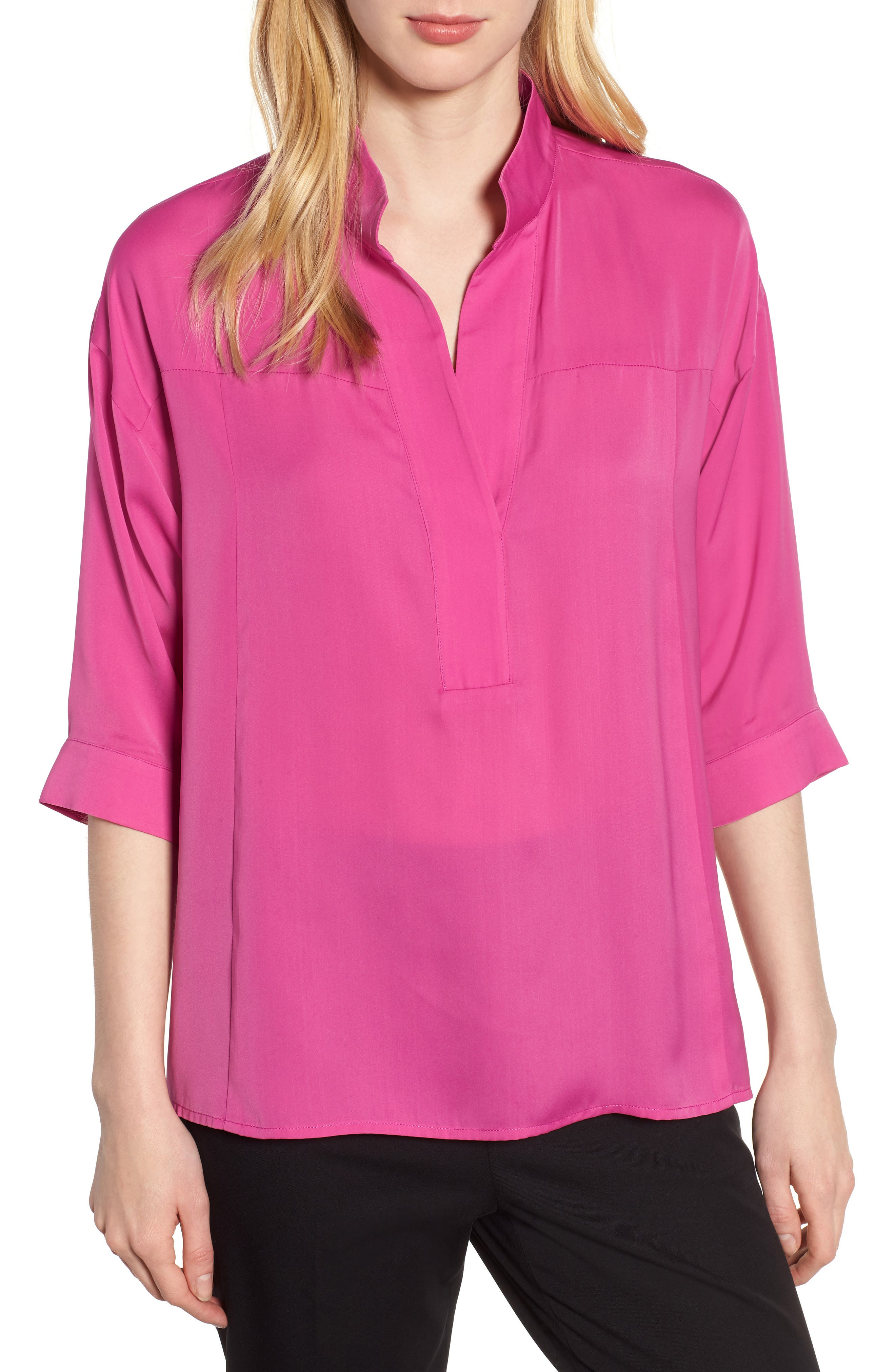 Split Neck Blouse,                         Main,                         color, HIBISCUS