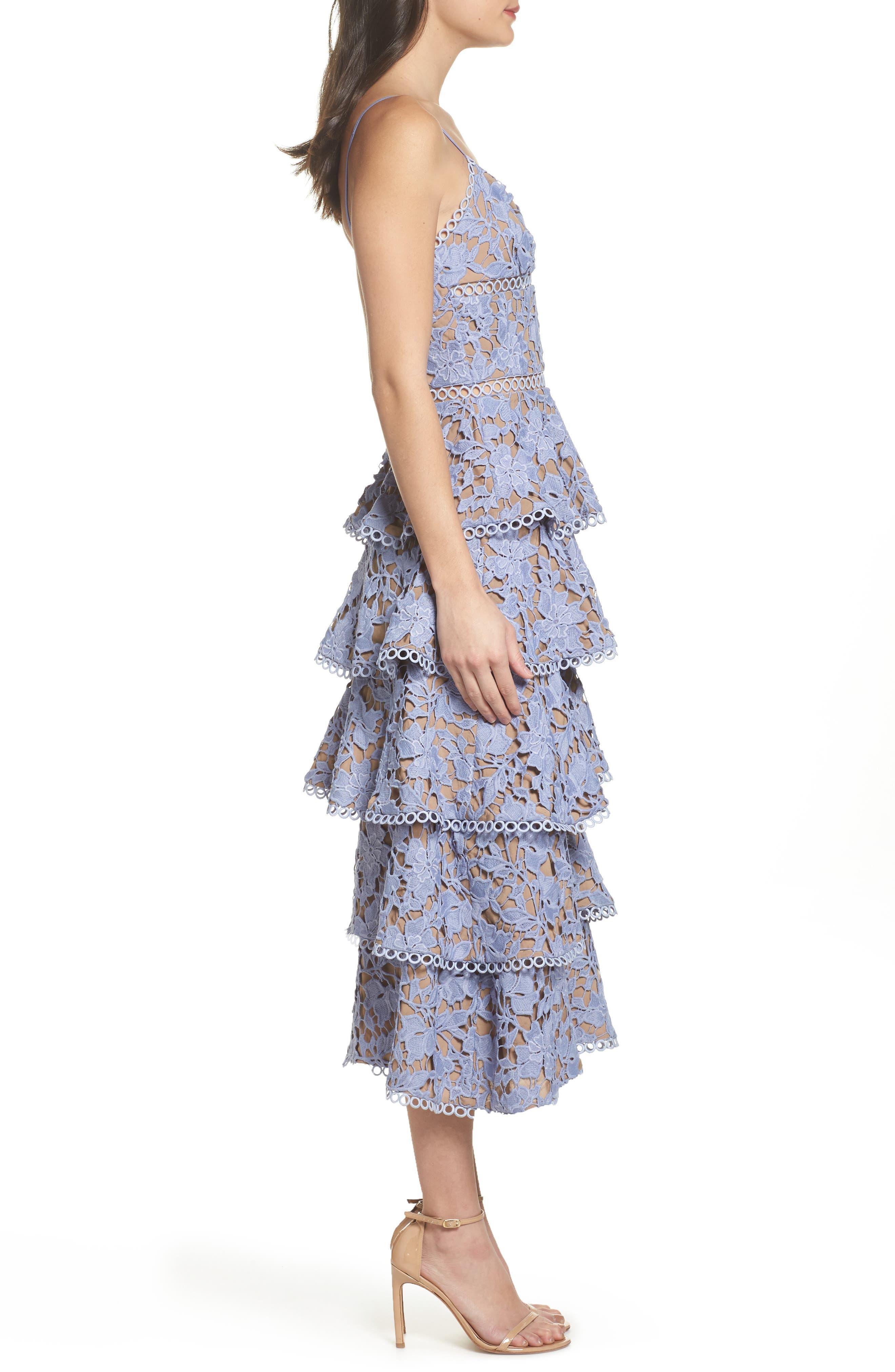 Camellia Lace Tiered Midi Dress,                             Alternate thumbnail 3, color,                             VIOLET