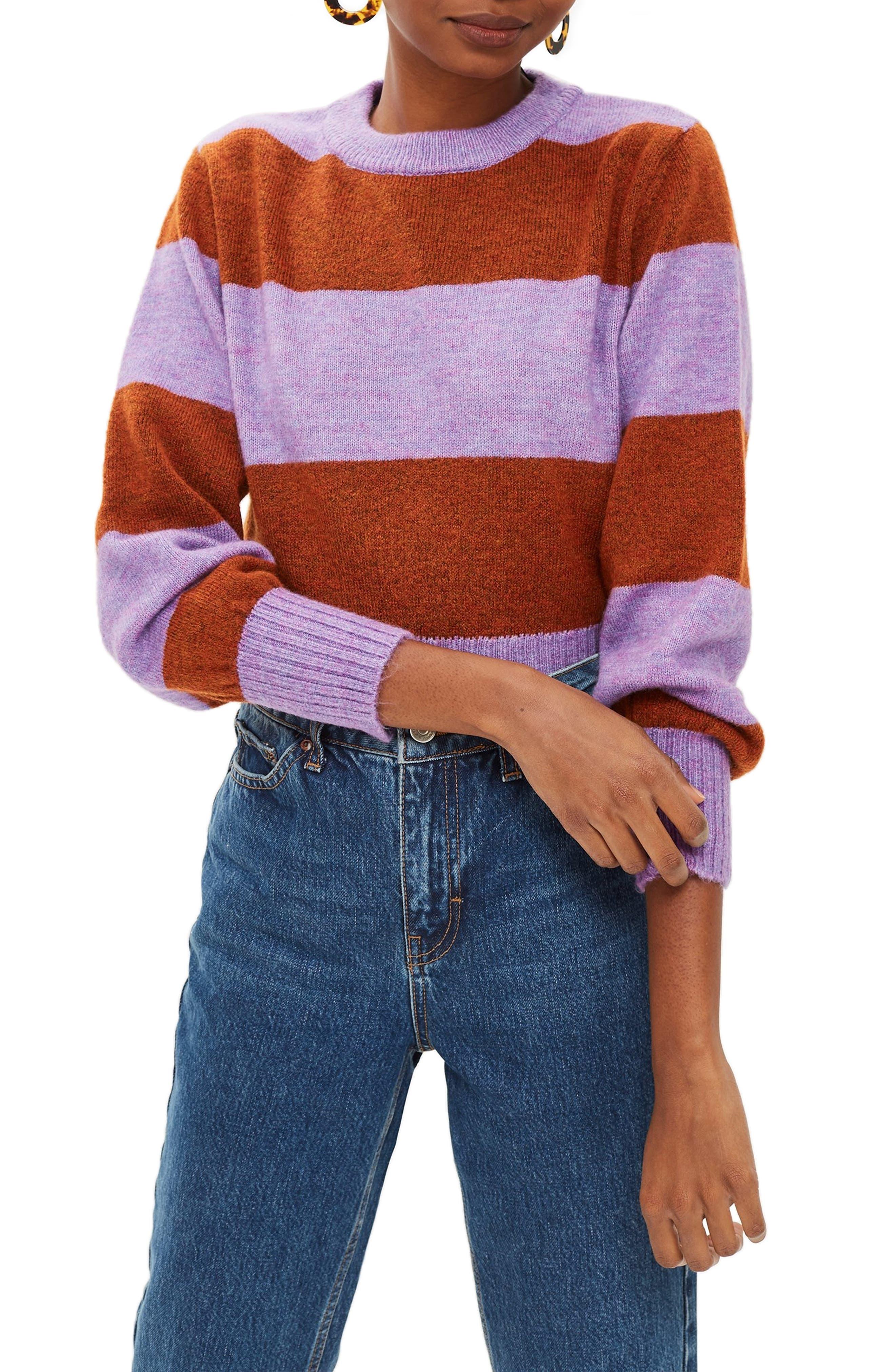 Bold Stripe Crewneck Sweater,                             Main thumbnail 1, color,                             PURPLE MULTI