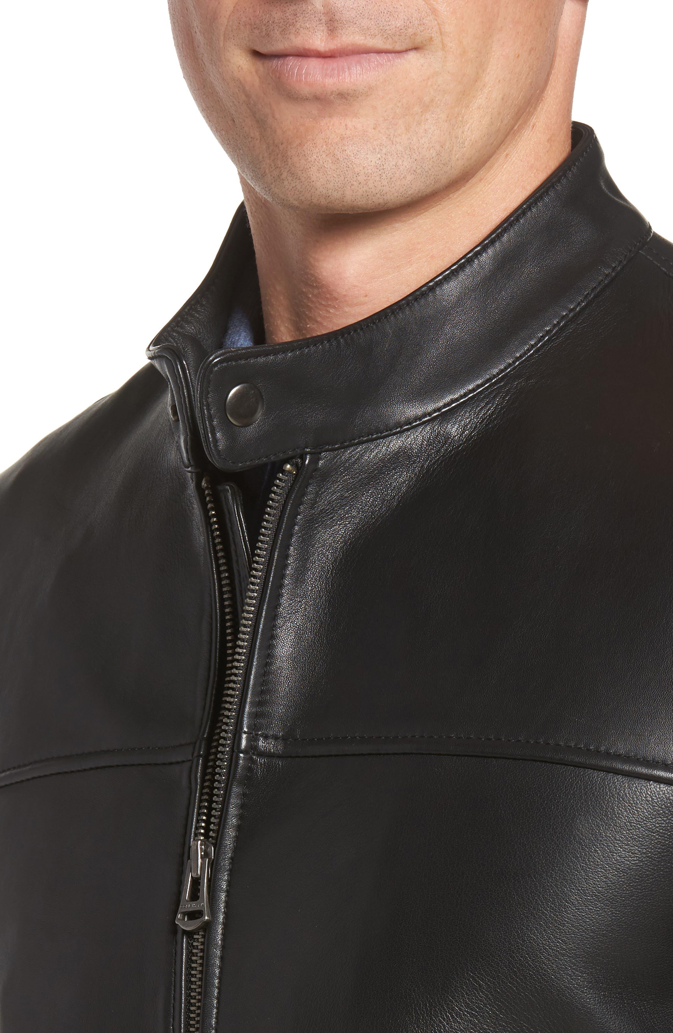 Bonded Leather Moto Jacket,                             Alternate thumbnail 4, color,                             BLACK